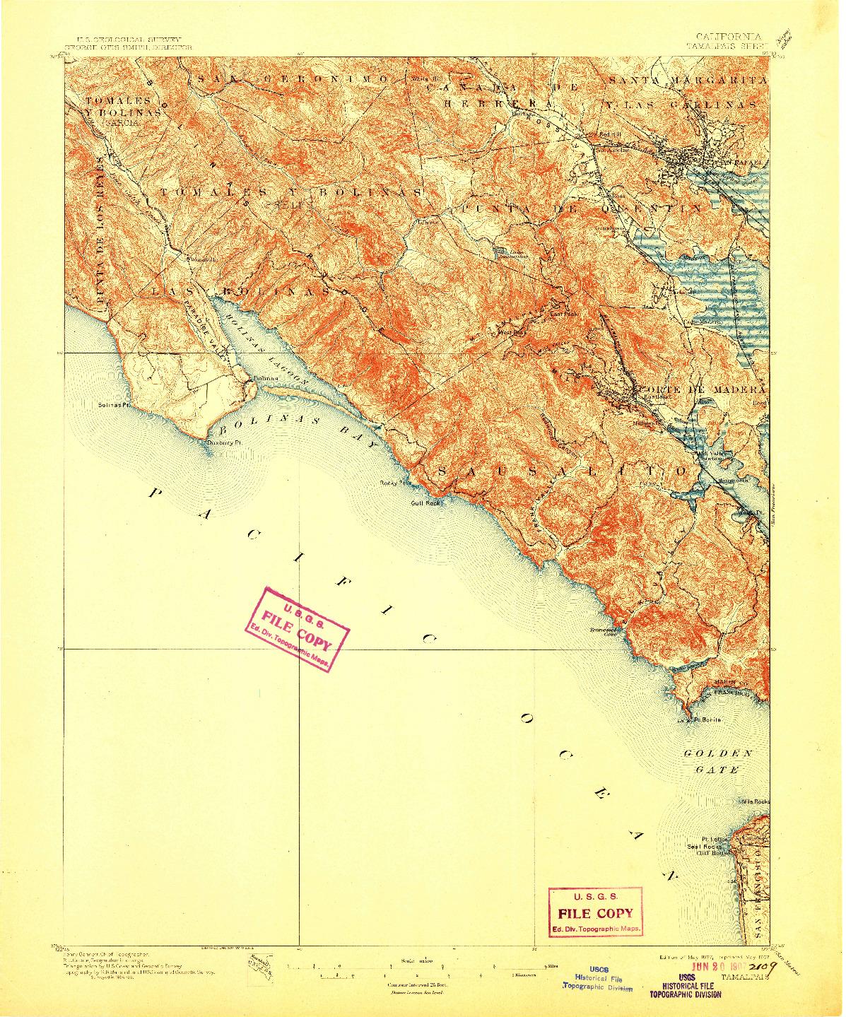 USGS 1:62500-SCALE QUADRANGLE FOR TAMALPAIS, CA 1897
