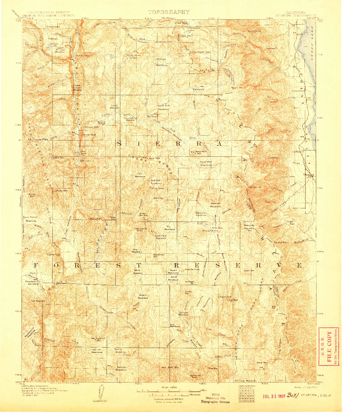 USGS 1:125000-SCALE QUADRANGLE FOR OLANCHA, CA 1907
