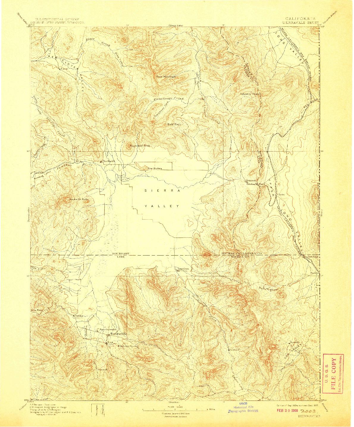 USGS 1:125000-SCALE QUADRANGLE FOR SIERRAVILLE, CA 1894