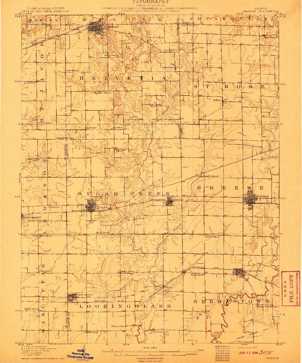 USGS 1:62500-SCALE QUADRANGLE FOR BREESE, IL 1907