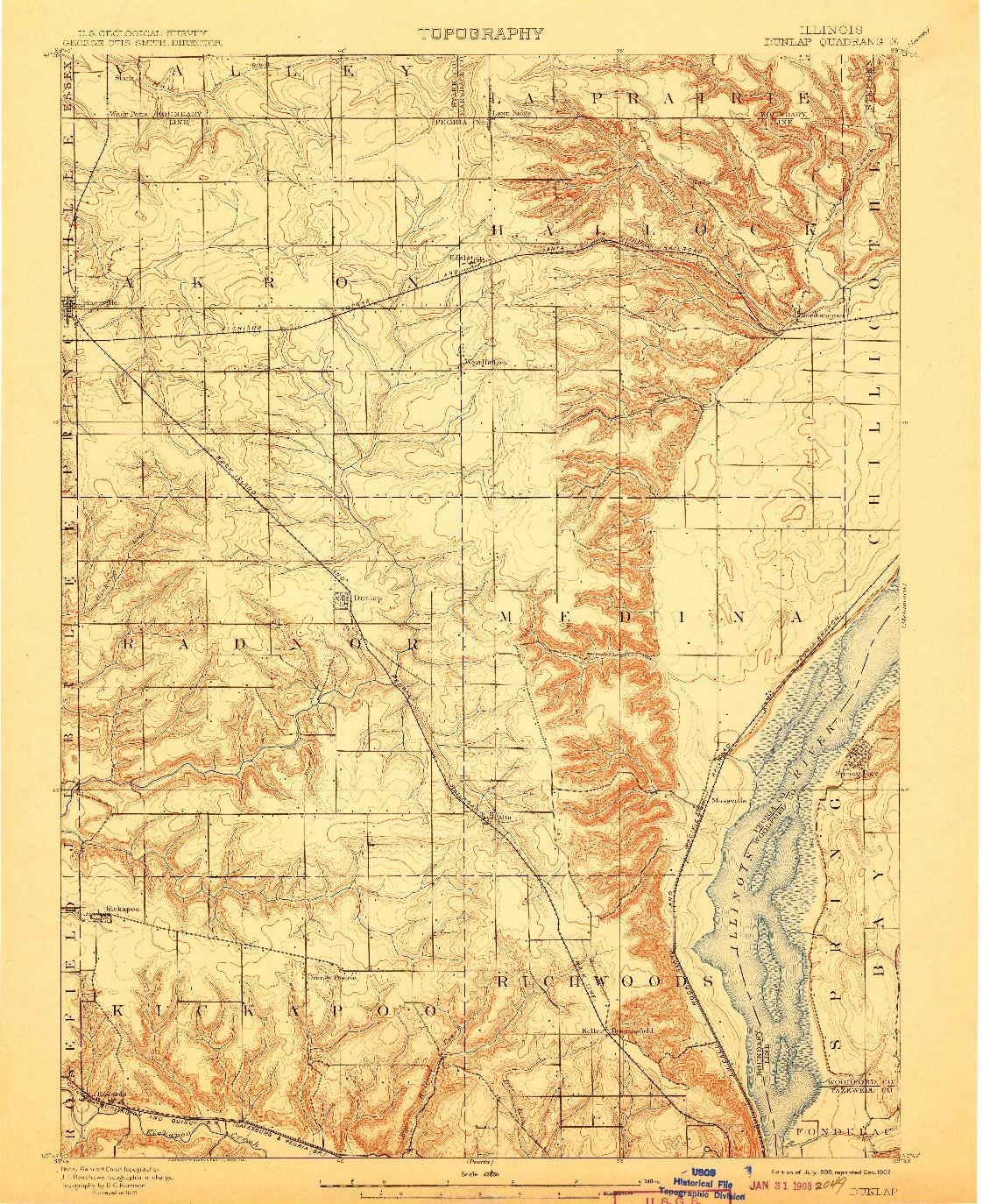 USGS 1:62500-SCALE QUADRANGLE FOR DUNLAP, IL 1898