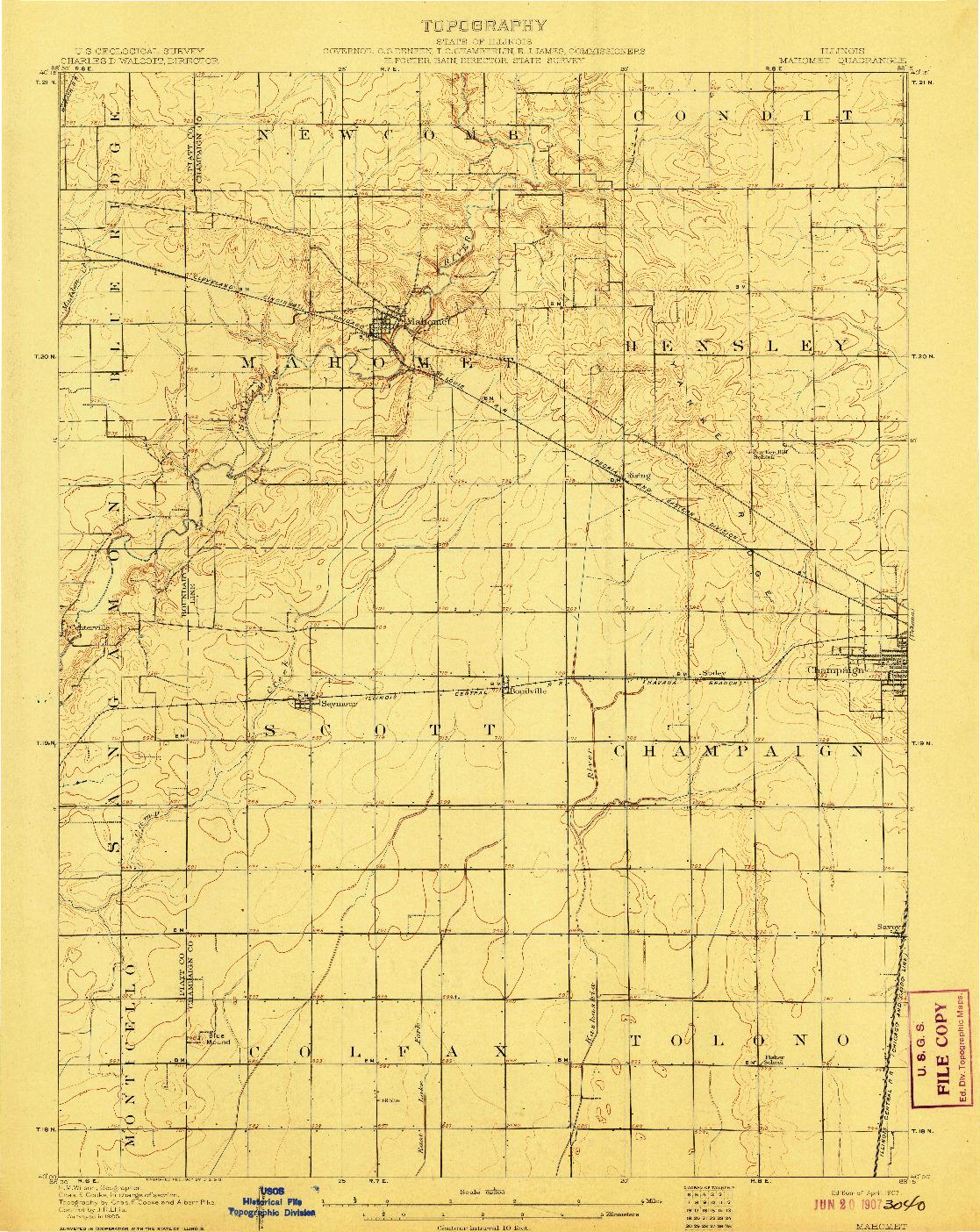 USGS 1:62500-SCALE QUADRANGLE FOR MAHOMET, IL 1907
