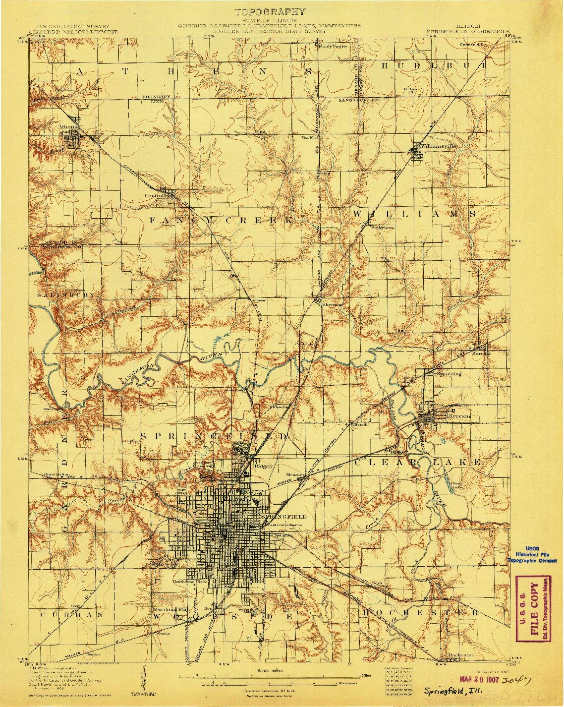 USGS 1:62500-SCALE QUADRANGLE FOR SPRINGFIELD, IL 1907