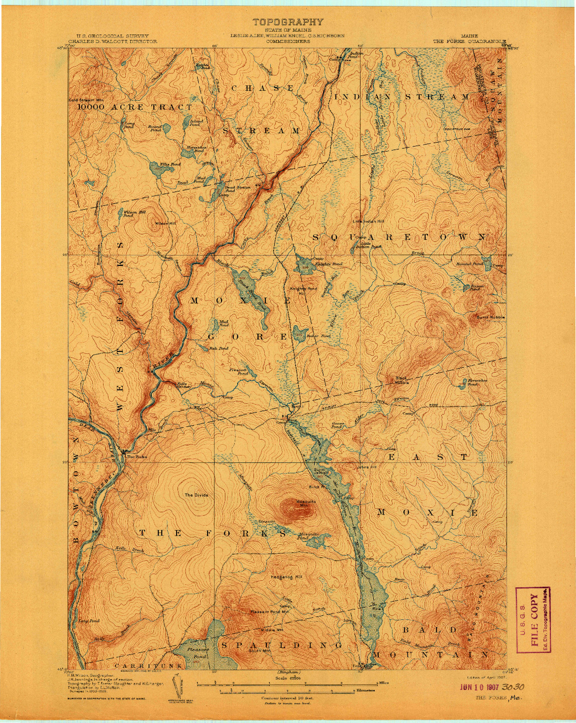 USGS 1:62500-SCALE QUADRANGLE FOR THE FORKS, ME 1907