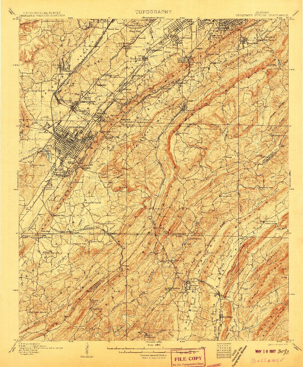 USGS 1:62500-SCALE QUADRANGLE FOR BESSEMER SPECIAL, AL 1907