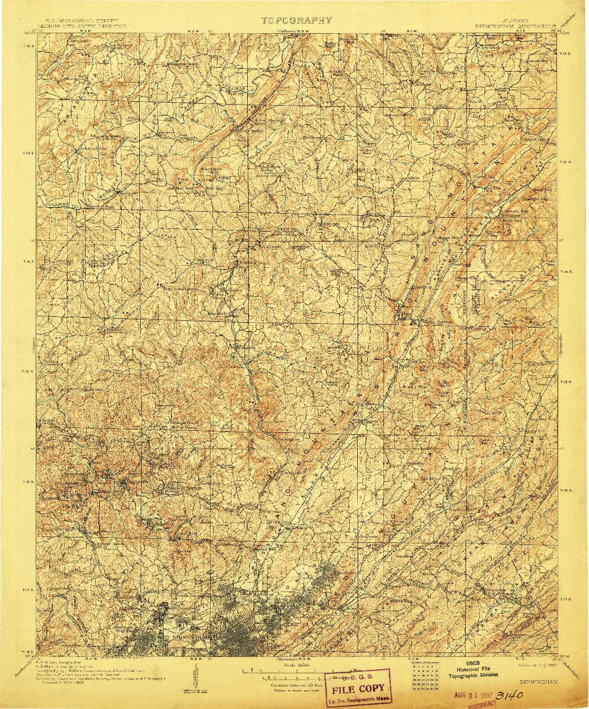 USGS 1:125000-SCALE QUADRANGLE FOR BIRMINGHAM, AL 1907