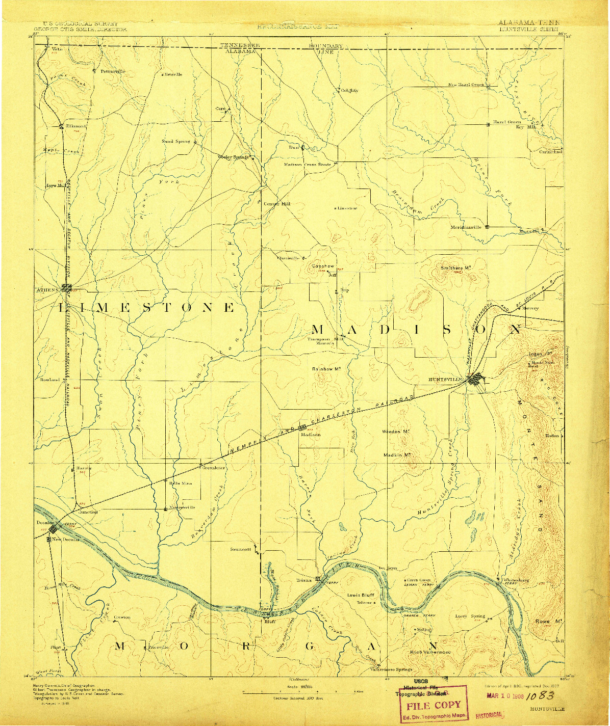 USGS 1:125000-SCALE QUADRANGLE FOR HUNTSVILLE, AL 1892