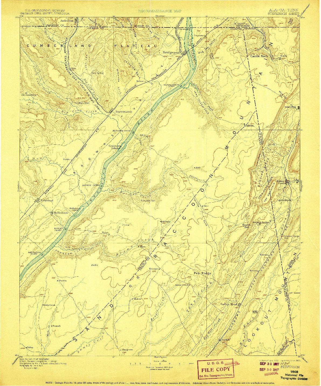USGS 1:125000-SCALE QUADRANGLE FOR STEVENSON, AL 1895