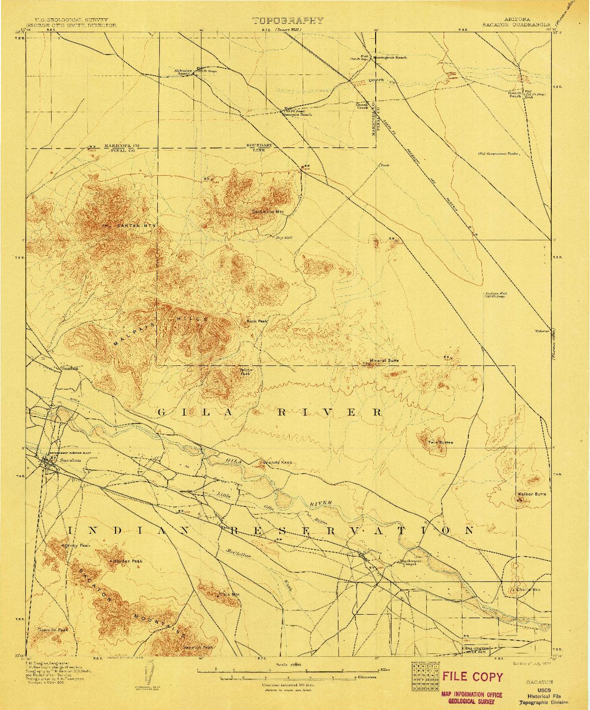 USGS 1:62500-SCALE QUADRANGLE FOR SACATON, AZ 1907