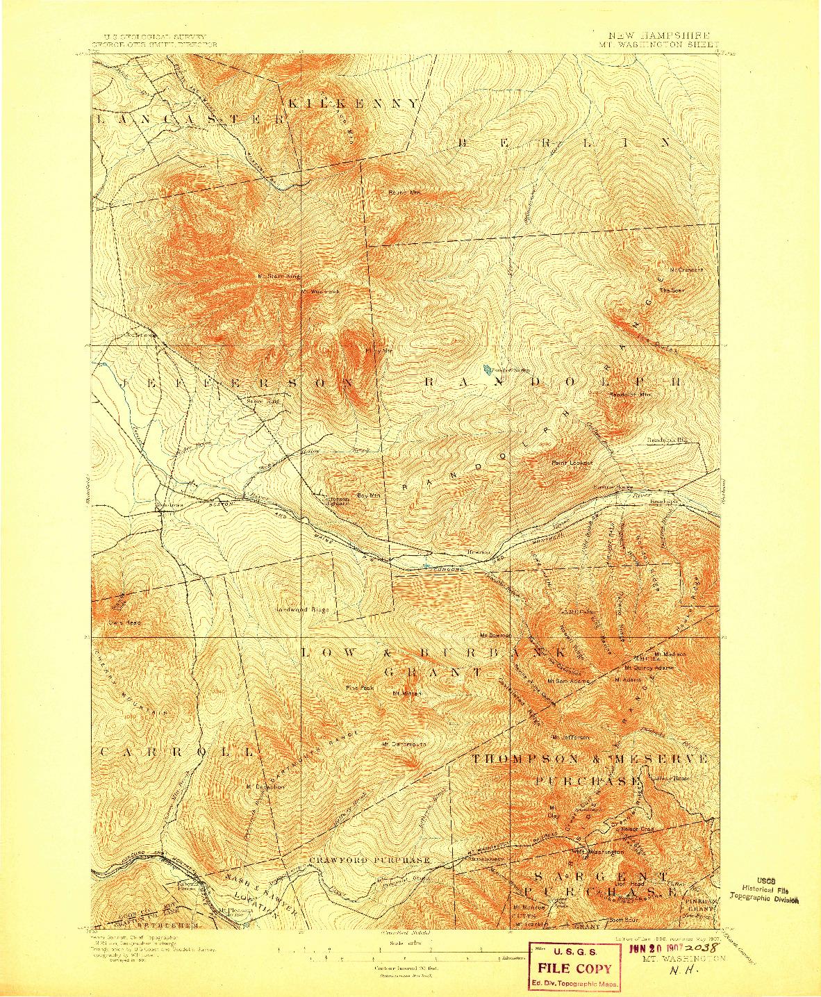 USGS 1:62500-SCALE QUADRANGLE FOR MT. WASHINGTON, NH 1896