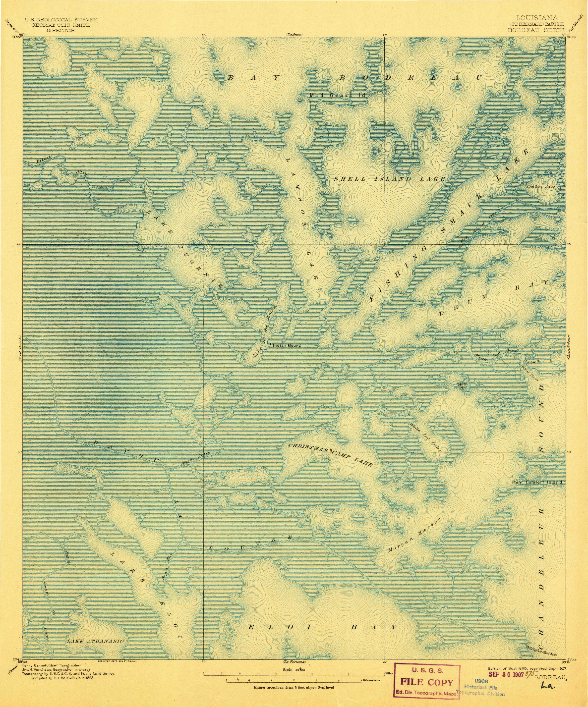 USGS 1:62500-SCALE QUADRANGLE FOR BODREAU, LA 1895