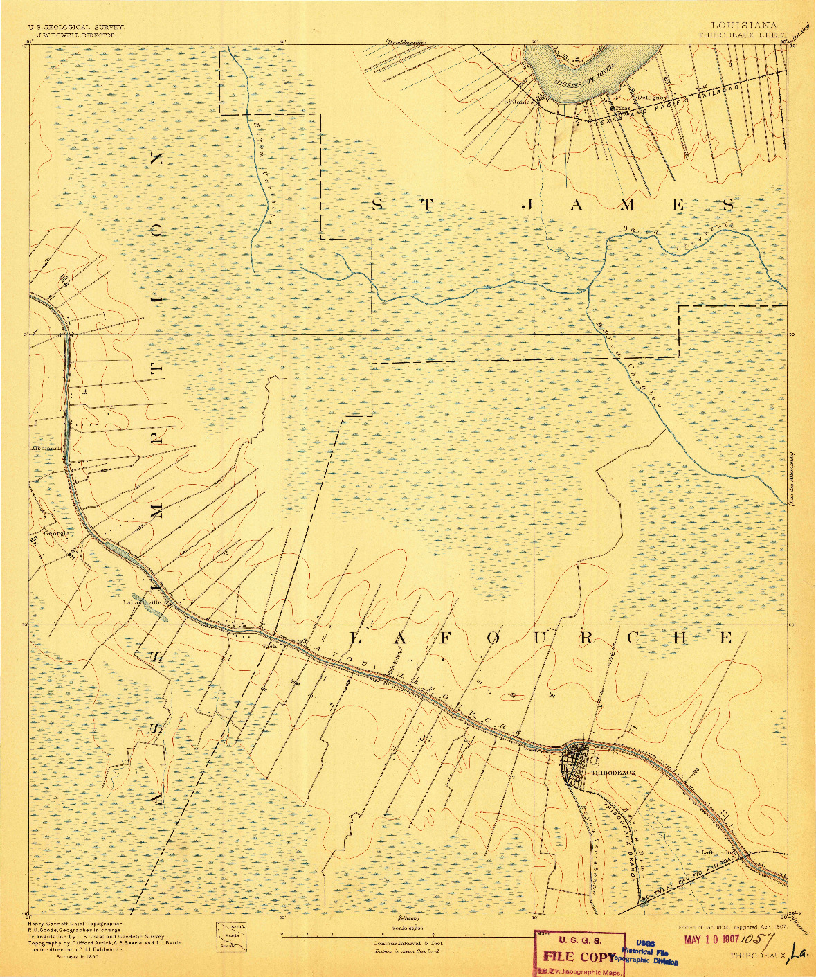 USGS 1:62500-SCALE QUADRANGLE FOR THIBODAUX, LA 1892
