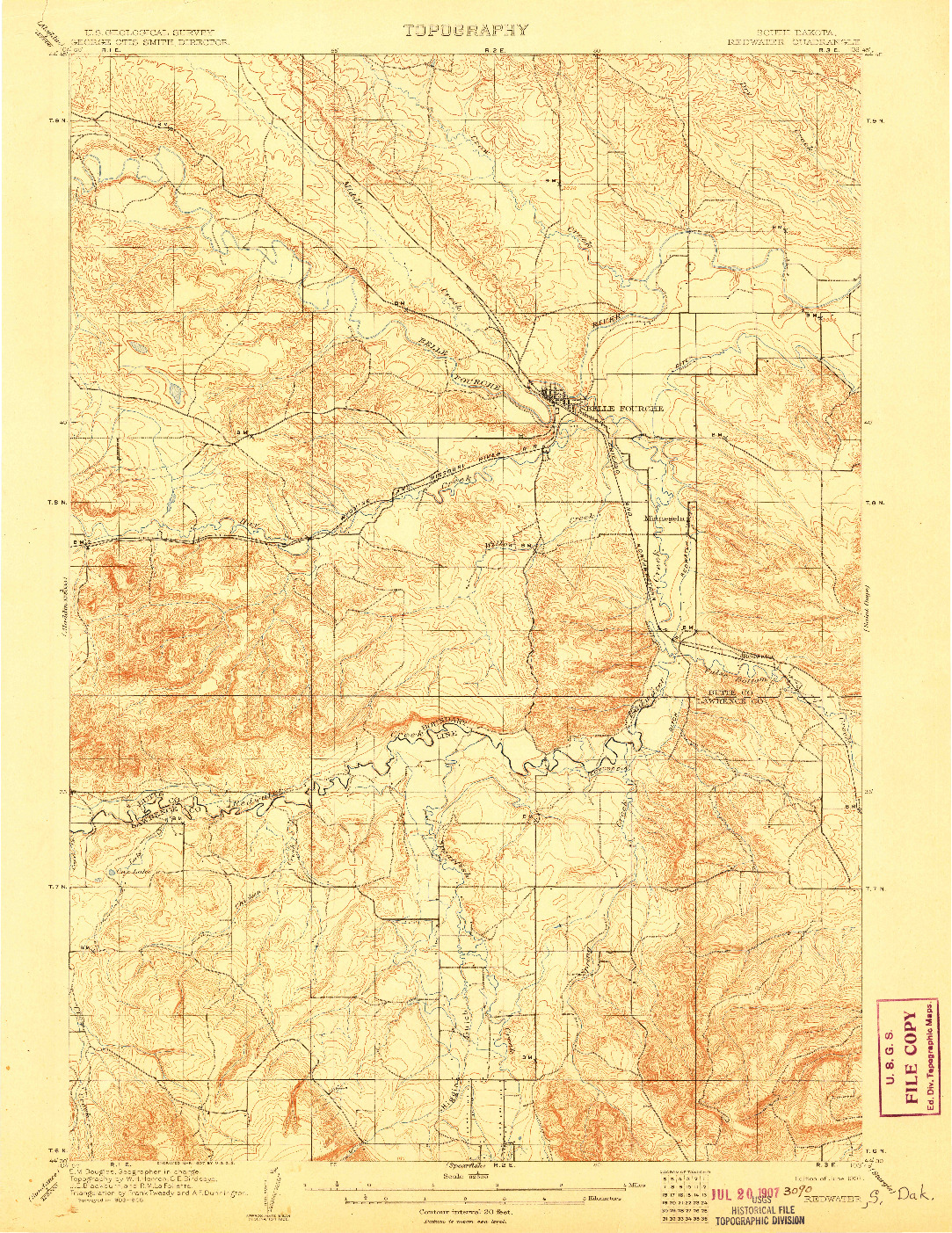 USGS 1:62500-SCALE QUADRANGLE FOR REDWATER, SD 1907