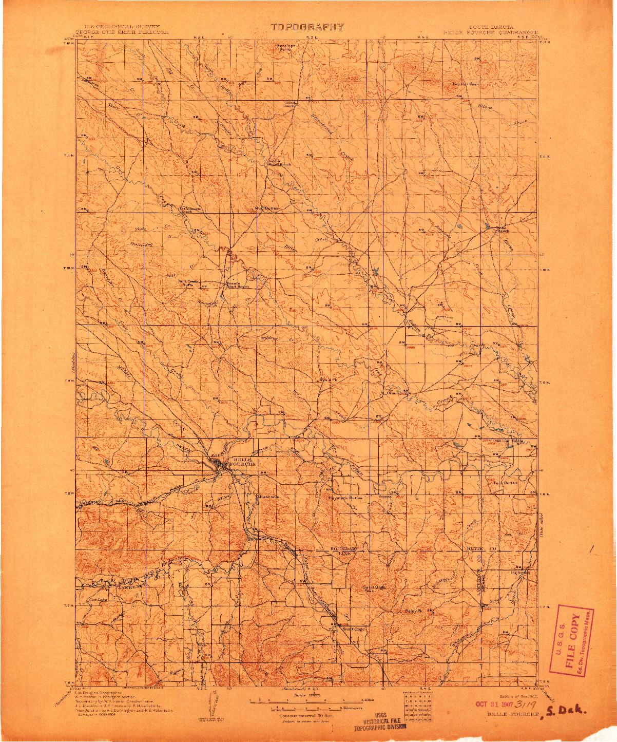 USGS 1:125000-SCALE QUADRANGLE FOR BELLE FOURCHE, SD 1907