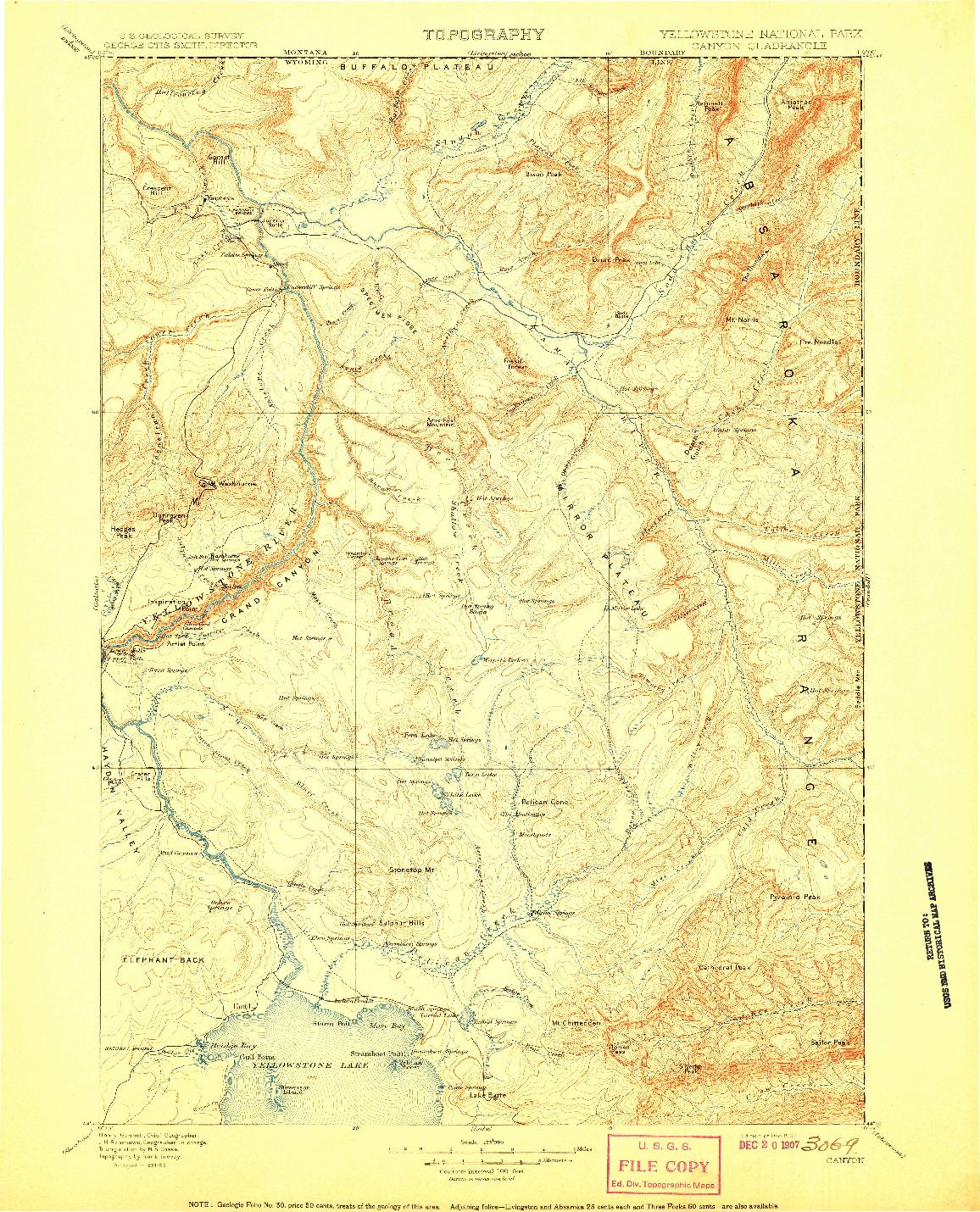 USGS 1:125000-SCALE QUADRANGLE FOR CANYON, WY 1907