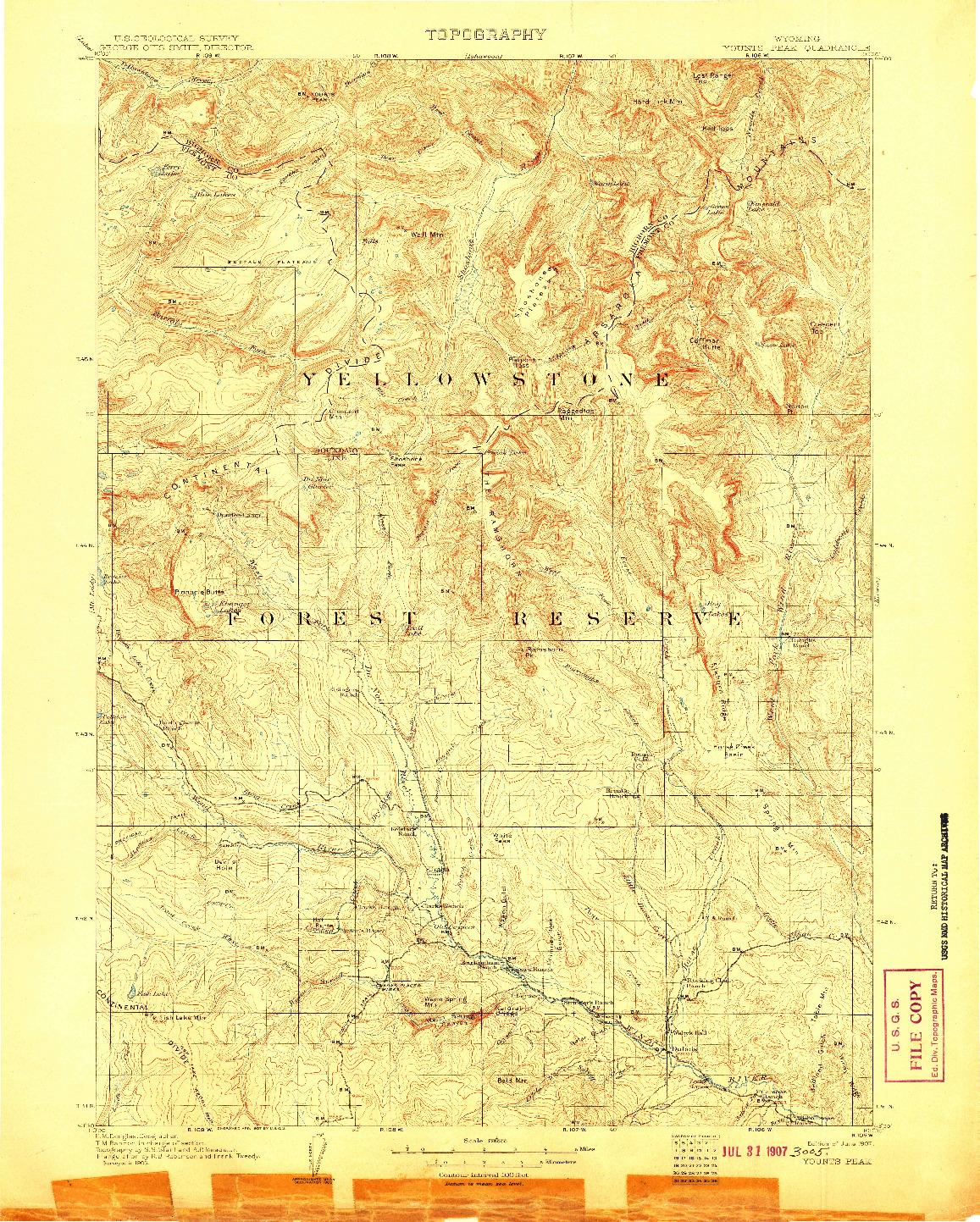 USGS 1:125000-SCALE QUADRANGLE FOR YOUNTS PEAK, WY 1907