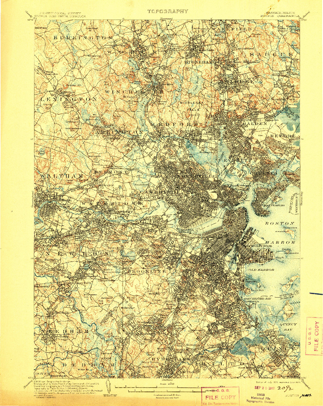 USGS 1:62500-SCALE QUADRANGLE FOR BOSTON, MA 1903