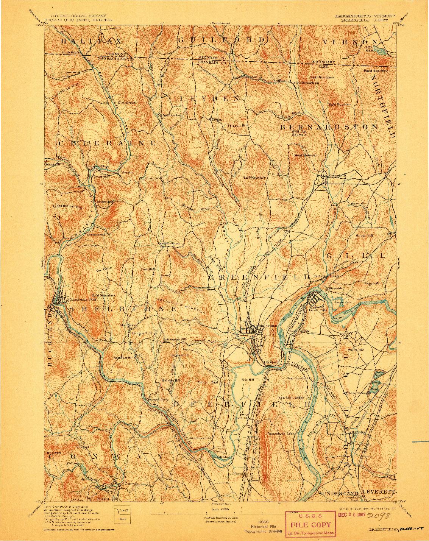 USGS 1:62500-SCALE QUADRANGLE FOR GREENFIELD, MA 1894