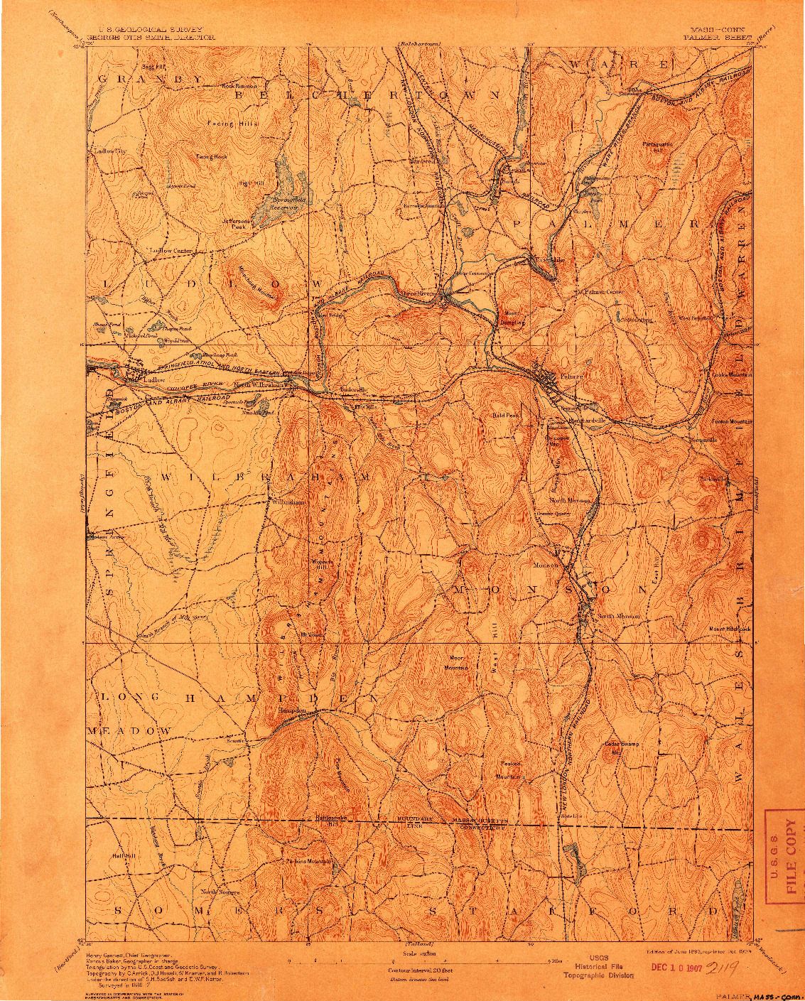 USGS 1:62500-SCALE QUADRANGLE FOR PALMER, MA 1893