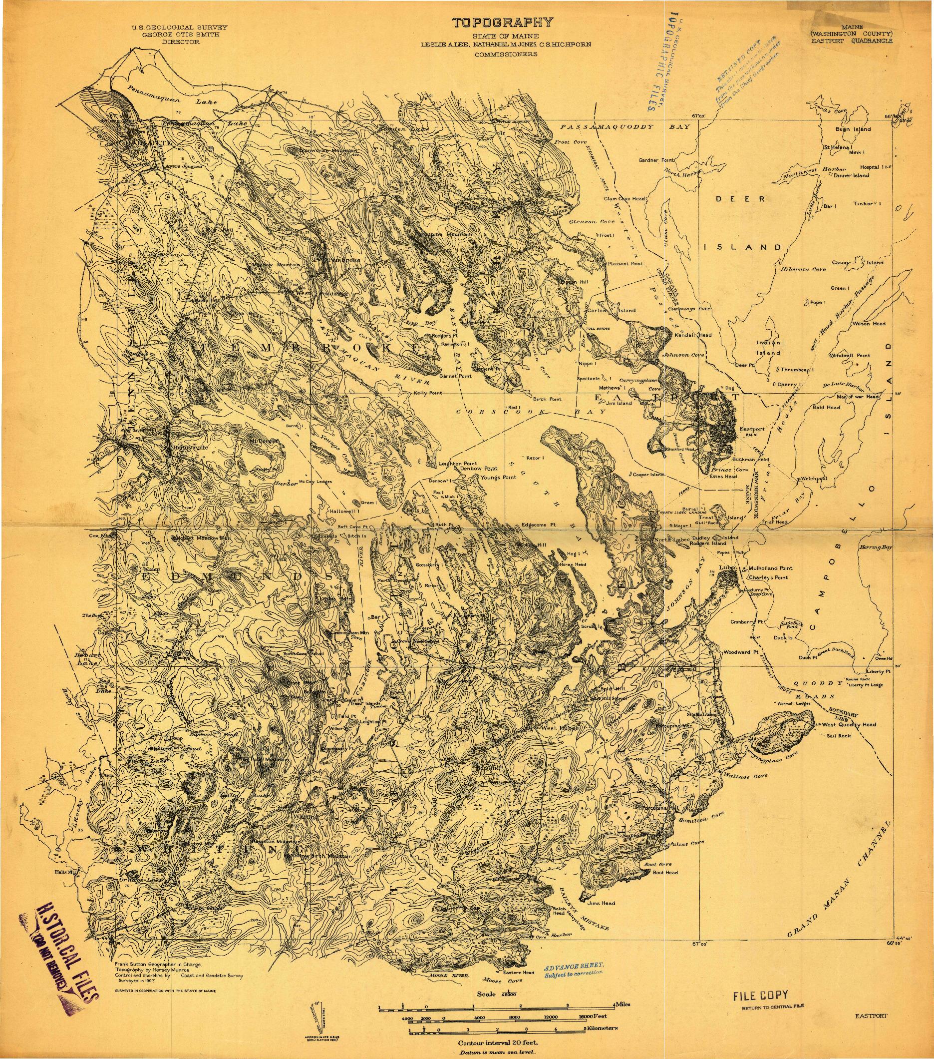 USGS 1:48000-SCALE QUADRANGLE FOR EASTPORT, ME 1907