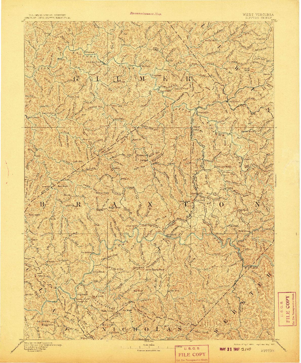 USGS 1:125000-SCALE QUADRANGLE FOR SUTTON, WV 1893