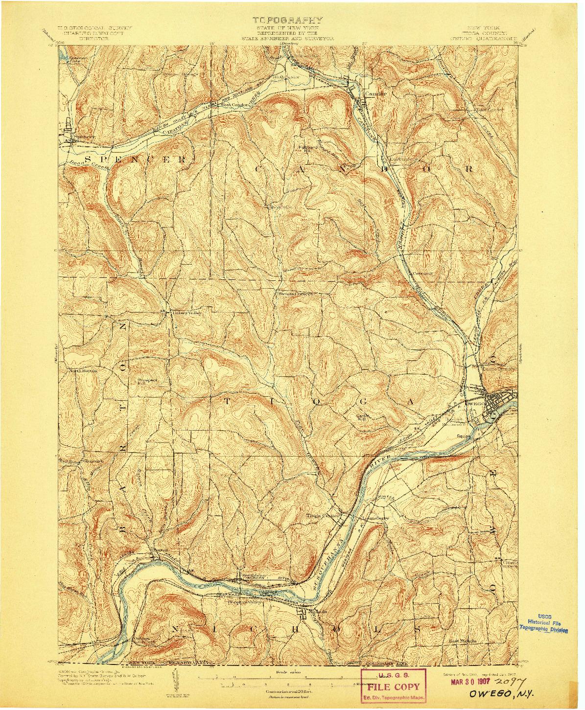 USGS 1:62500-SCALE QUADRANGLE FOR OWEGO, NY 1903