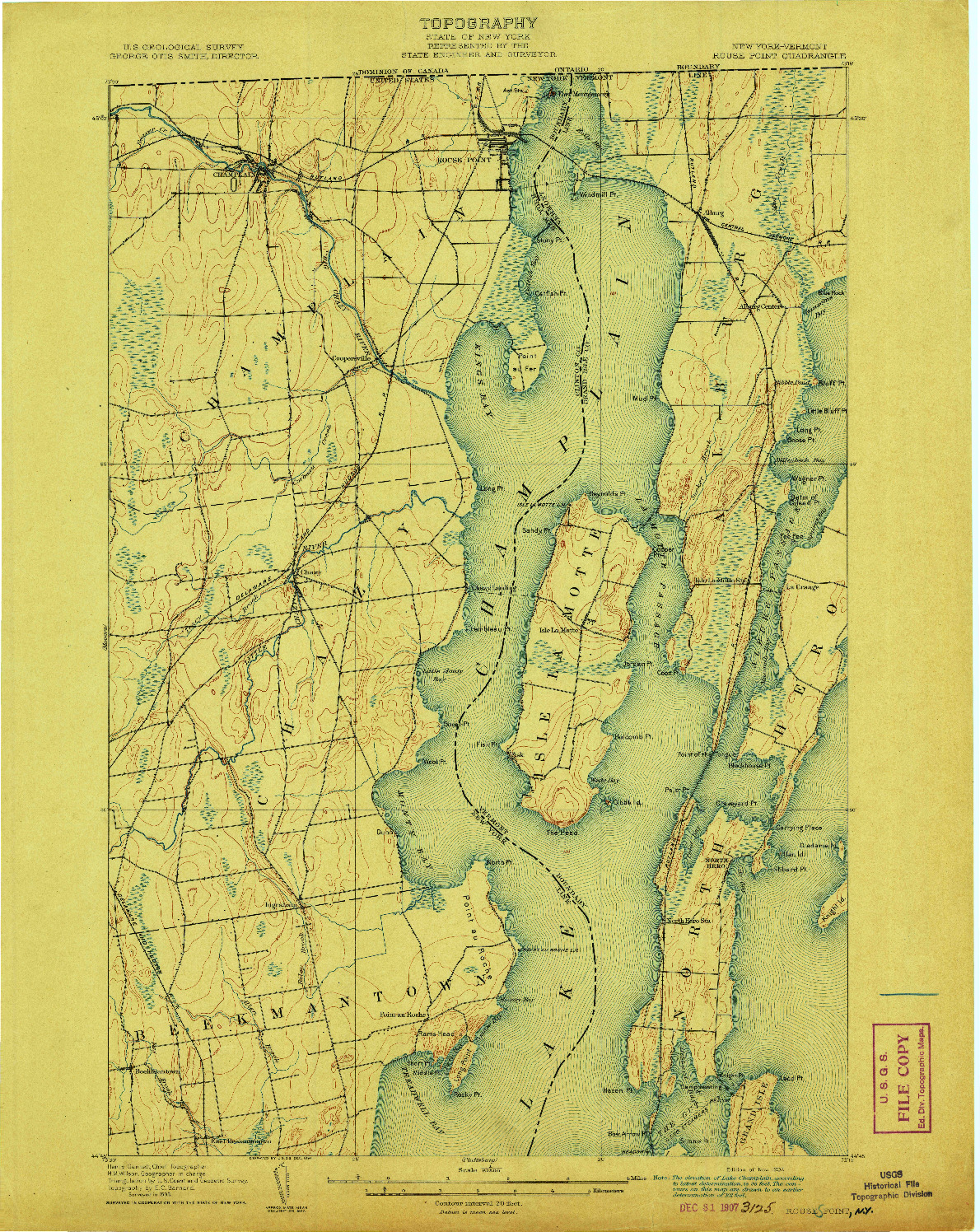 USGS 1:62500-SCALE QUADRANGLE FOR ROUSE POINT, NY 1907