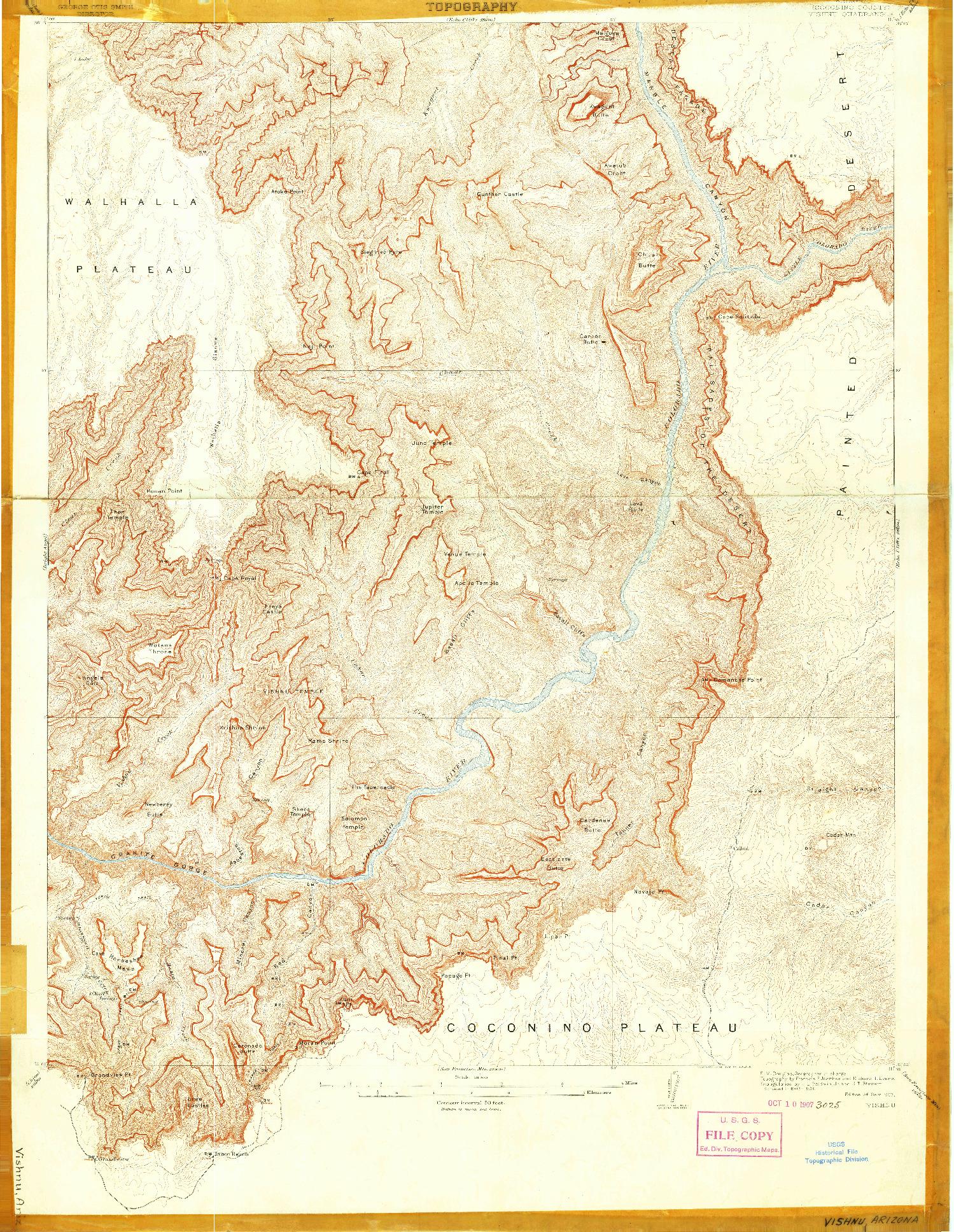 USGS 1:48000-SCALE QUADRANGLE FOR VISHNU, AZ 1907
