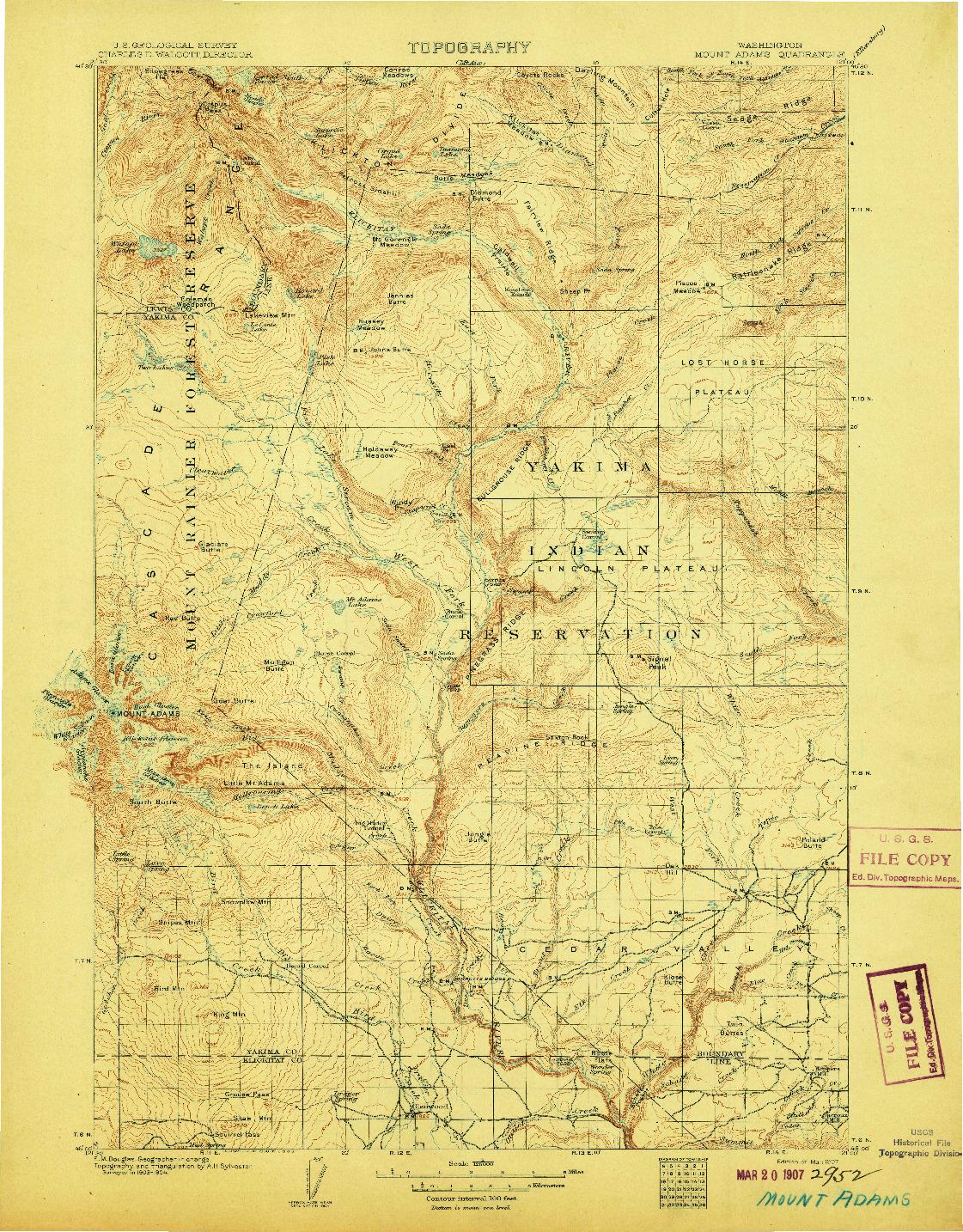 USGS 1:125000-SCALE QUADRANGLE FOR MOUNT ADAMS, WA 1907