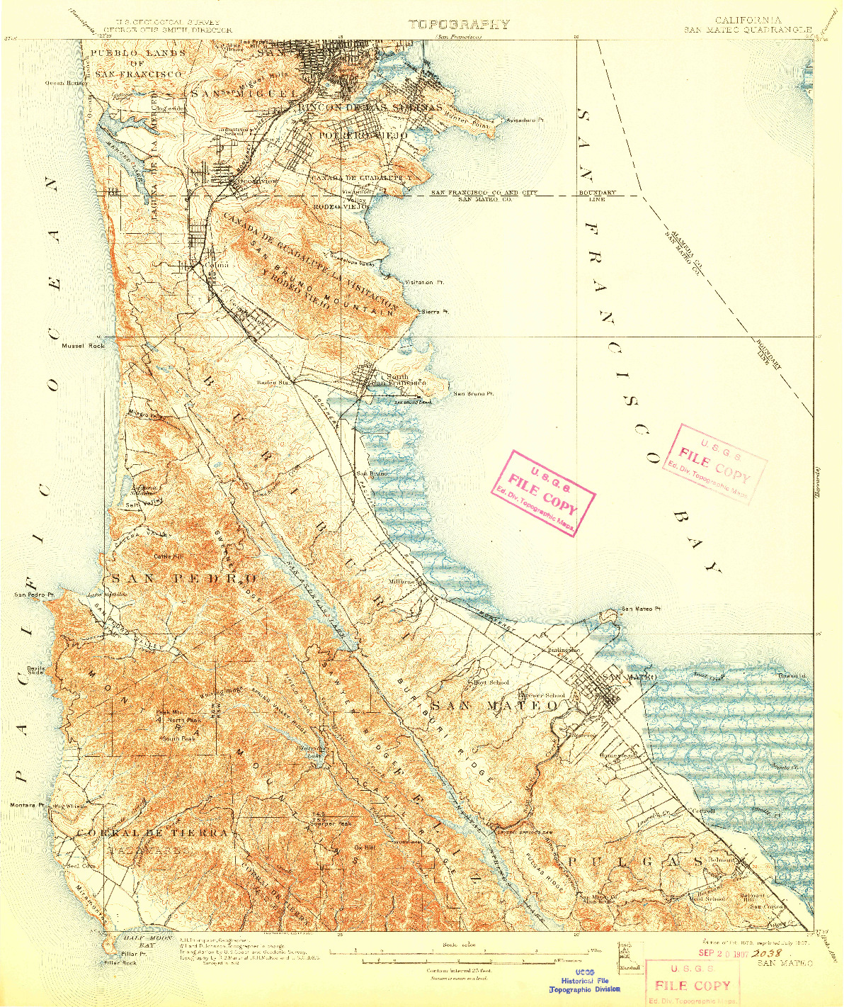 USGS 1:62500-SCALE QUADRANGLE FOR SAN MATEO, CA 1899