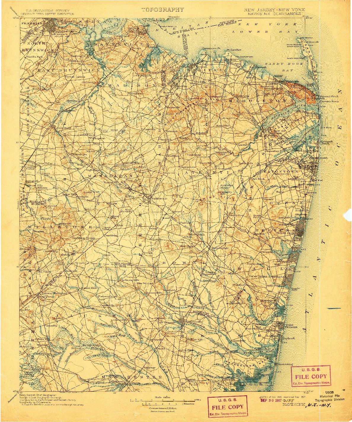 USGS 1:125000-SCALE QUADRANGLE FOR NAVESINK, NJ 1902