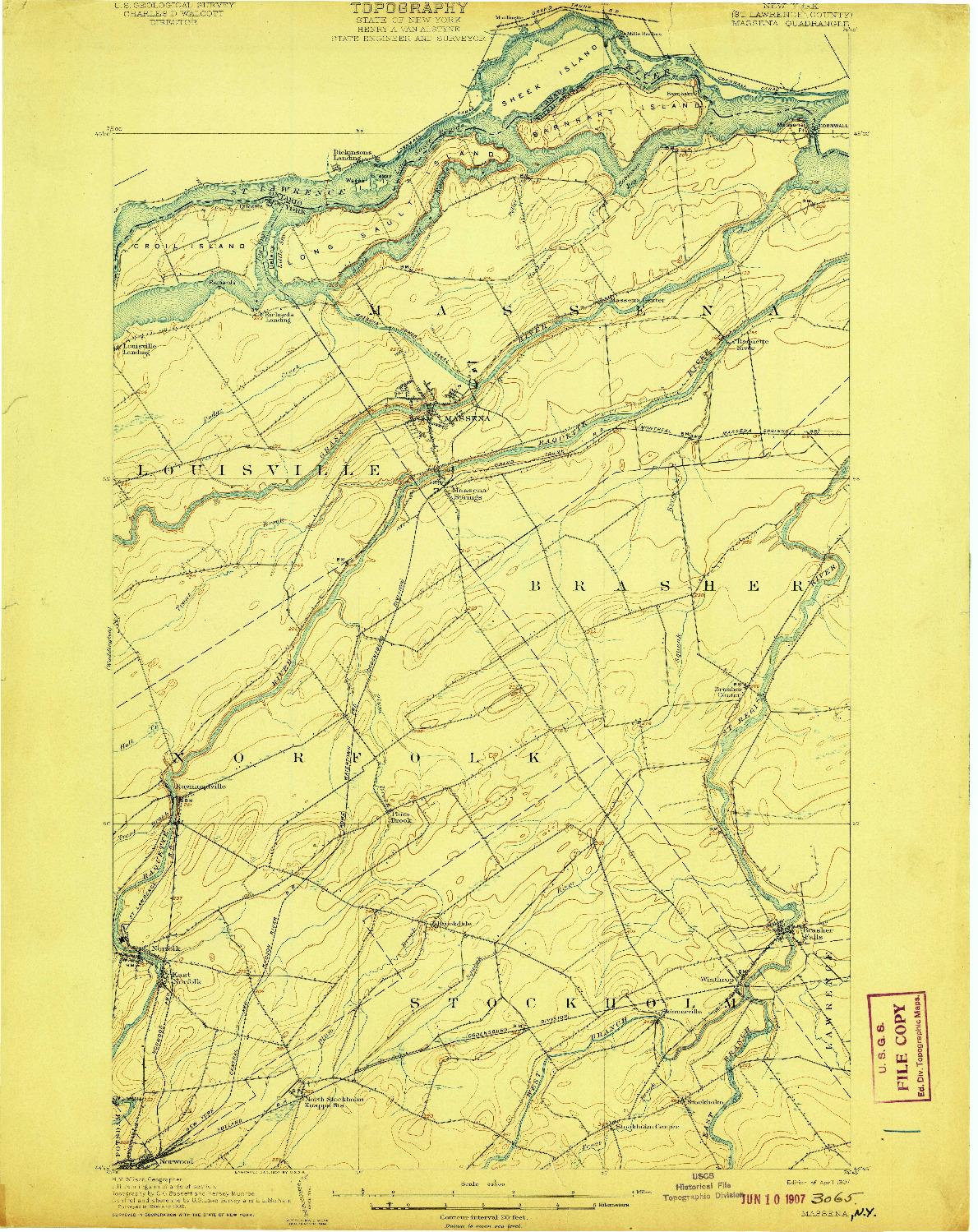 USGS 1:62500-SCALE QUADRANGLE FOR MASSENA, NY 1907