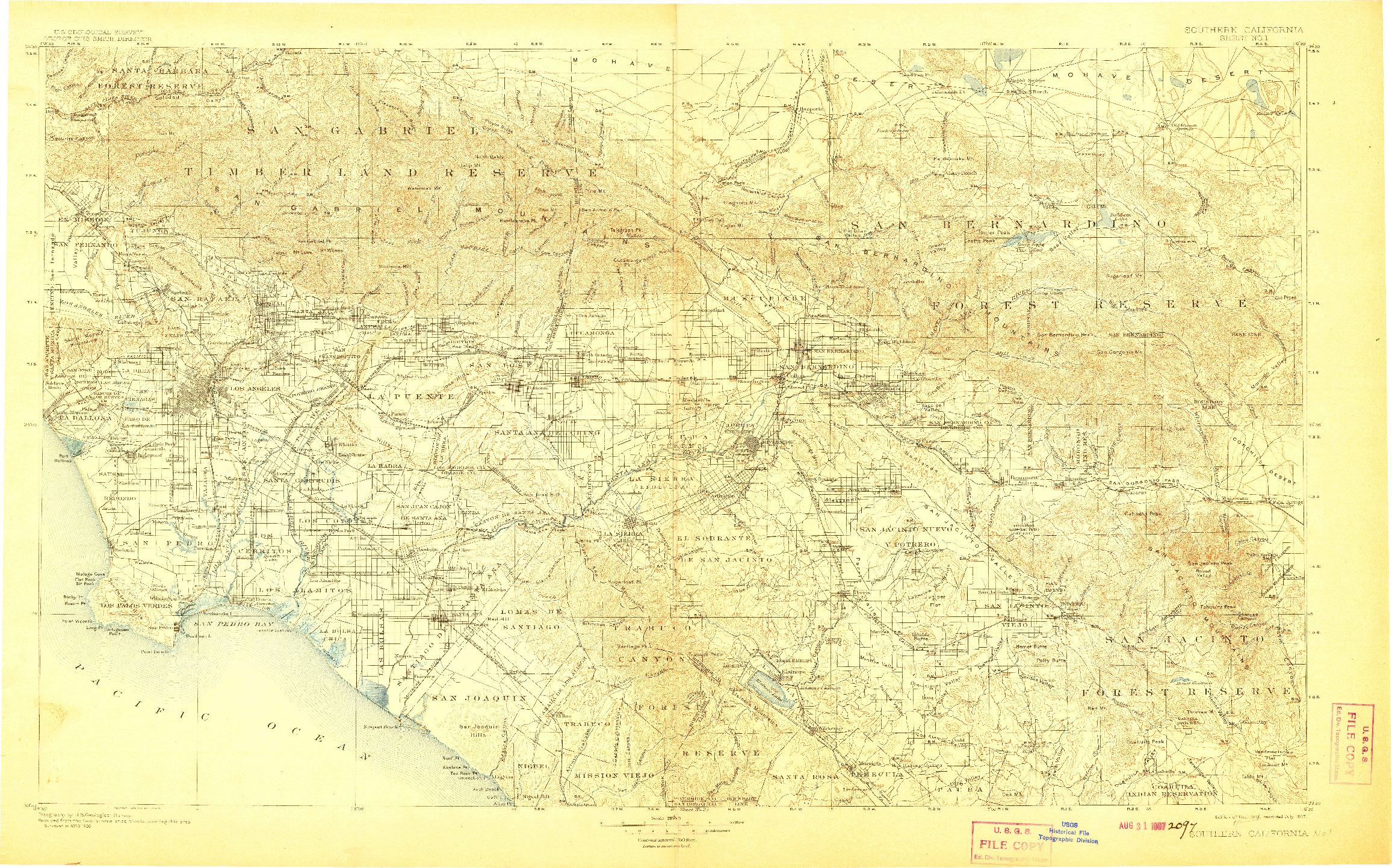 USGS 1:250000-SCALE QUADRANGLE FOR SOUTHERN CALIFORNIA SHEET NO. 1, CA 1904