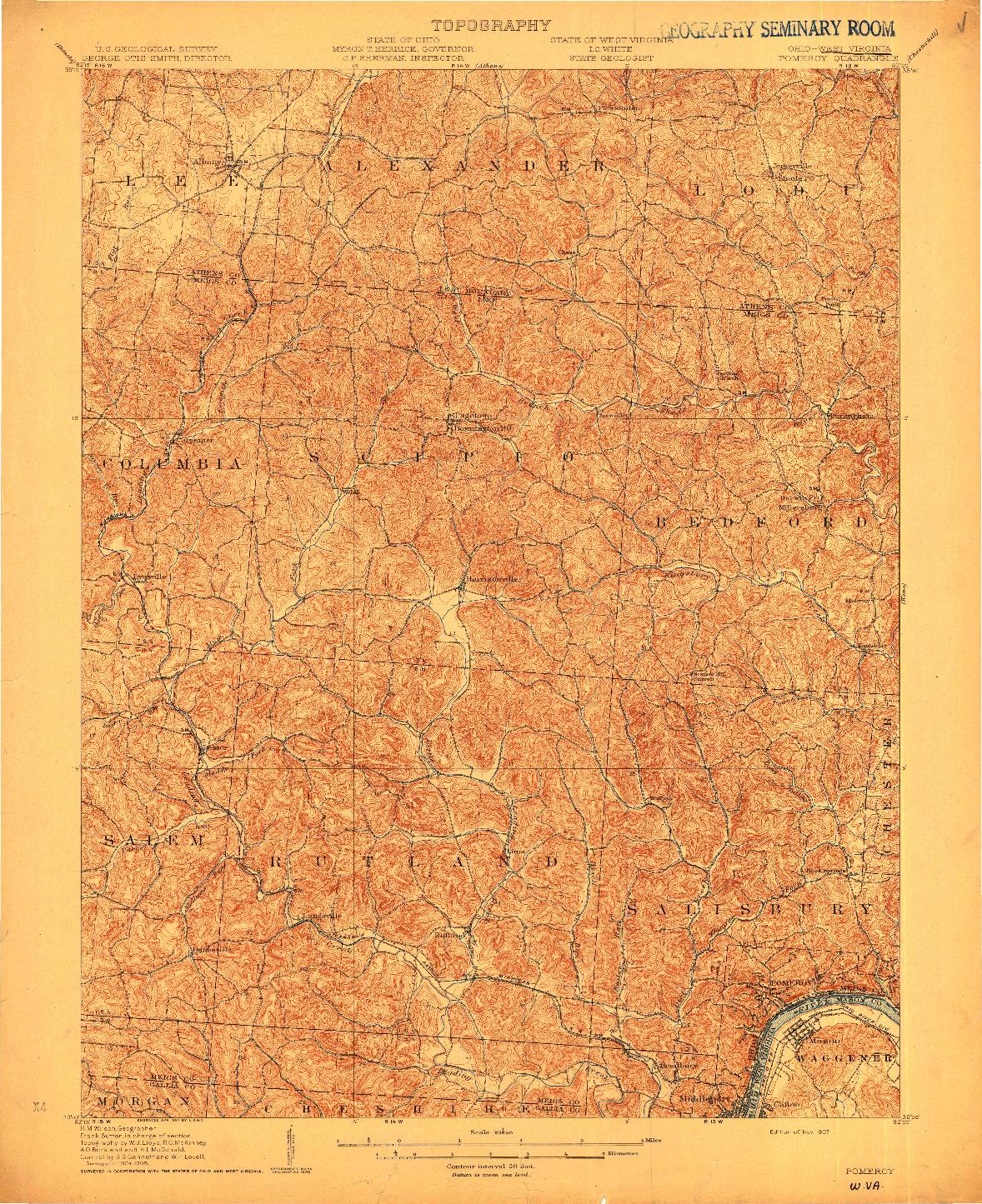 USGS 1:62500-SCALE QUADRANGLE FOR POMEROY, OH 1907
