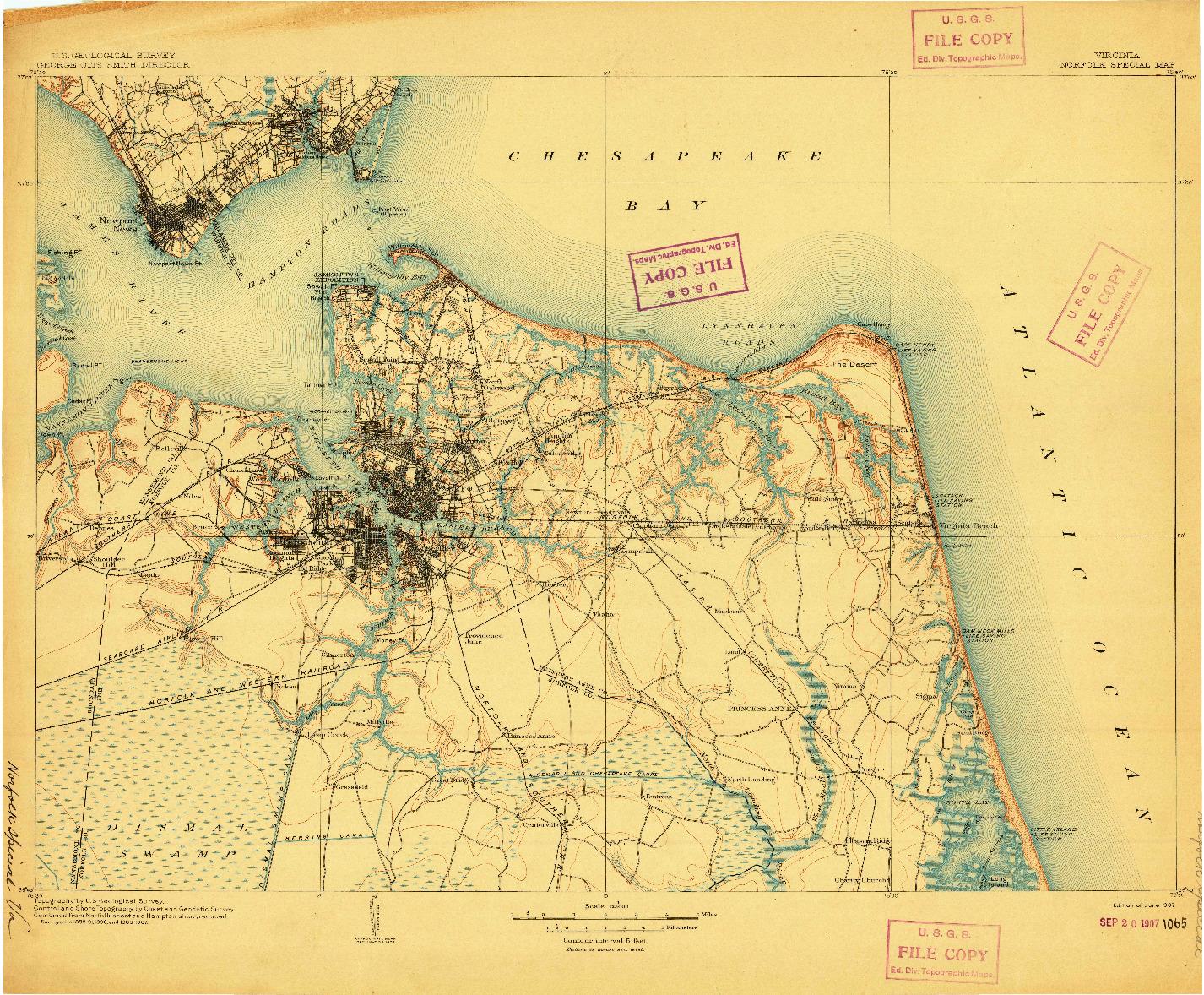 USGS 1:125000-SCALE QUADRANGLE FOR NORFOLK, VA 1907