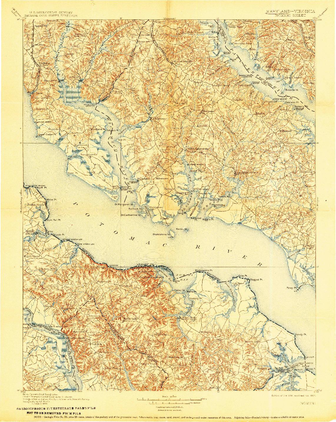 USGS 1:125000-SCALE QUADRANGLE FOR NOMINI, MD 1898