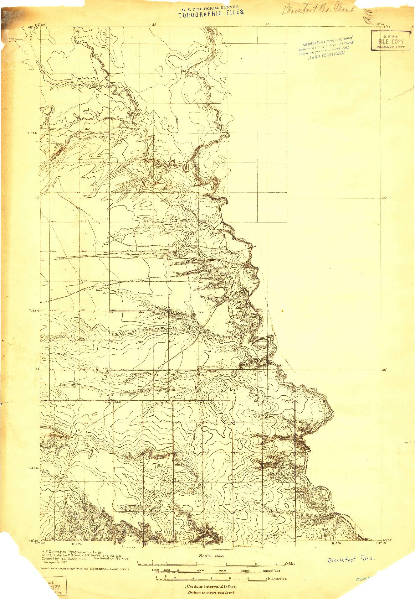 USGS 1:48000-SCALE QUADRANGLE FOR BLACKFOOT RES., MT 1907