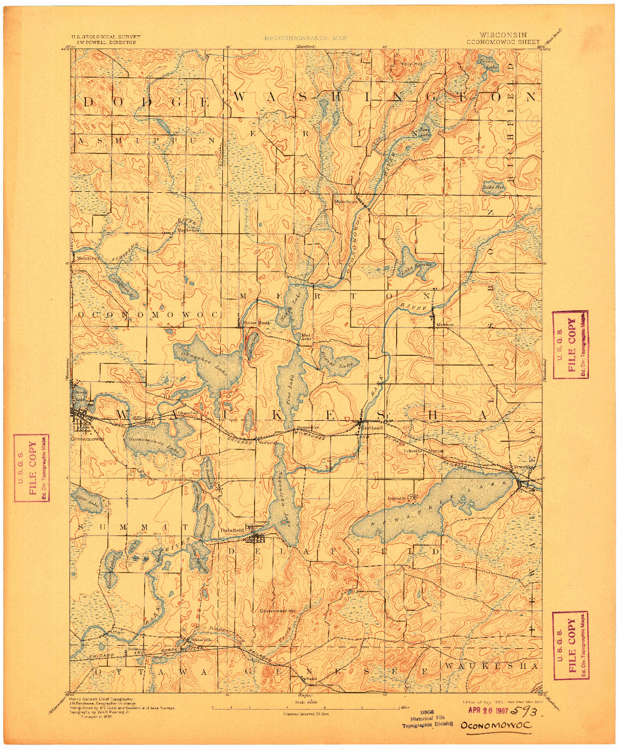 USGS 1:62500-SCALE QUADRANGLE FOR OCONOMOWOC, WI 1892
