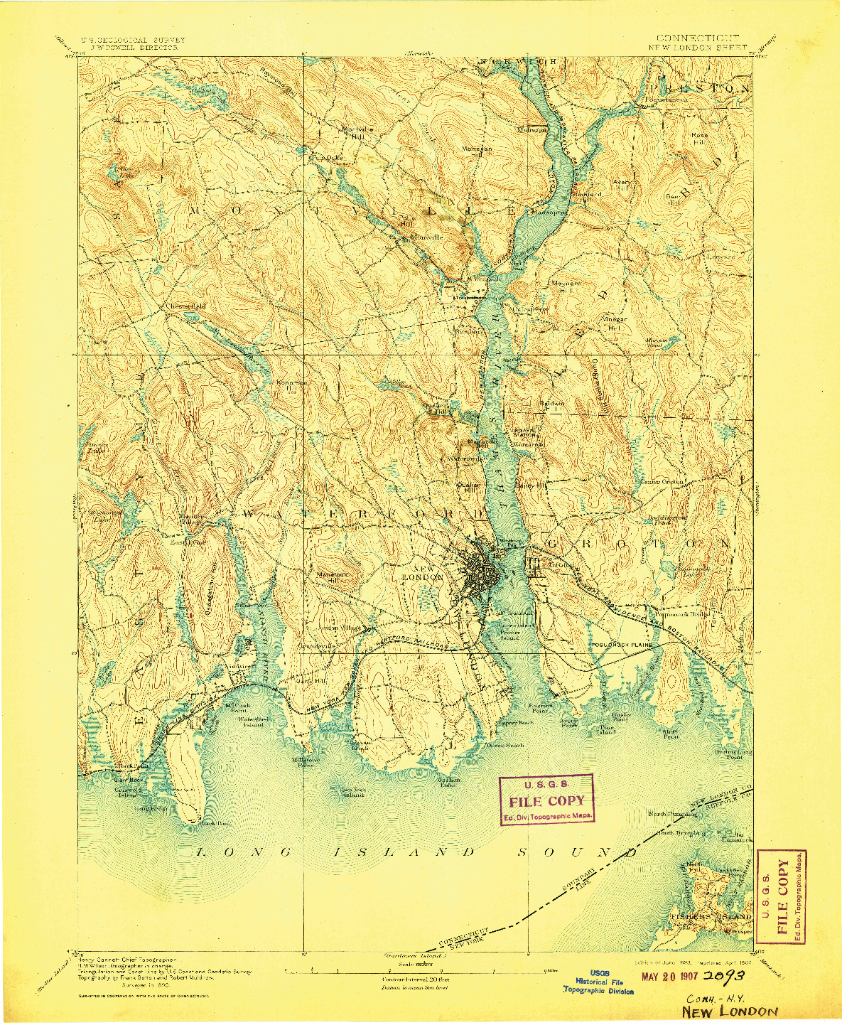 USGS 1:62500-SCALE QUADRANGLE FOR NEW LONDON, CT 1893