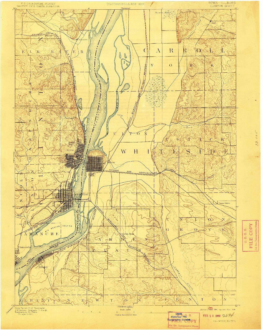 USGS 1:62500-SCALE QUADRANGLE FOR CLINTON, IA 1894