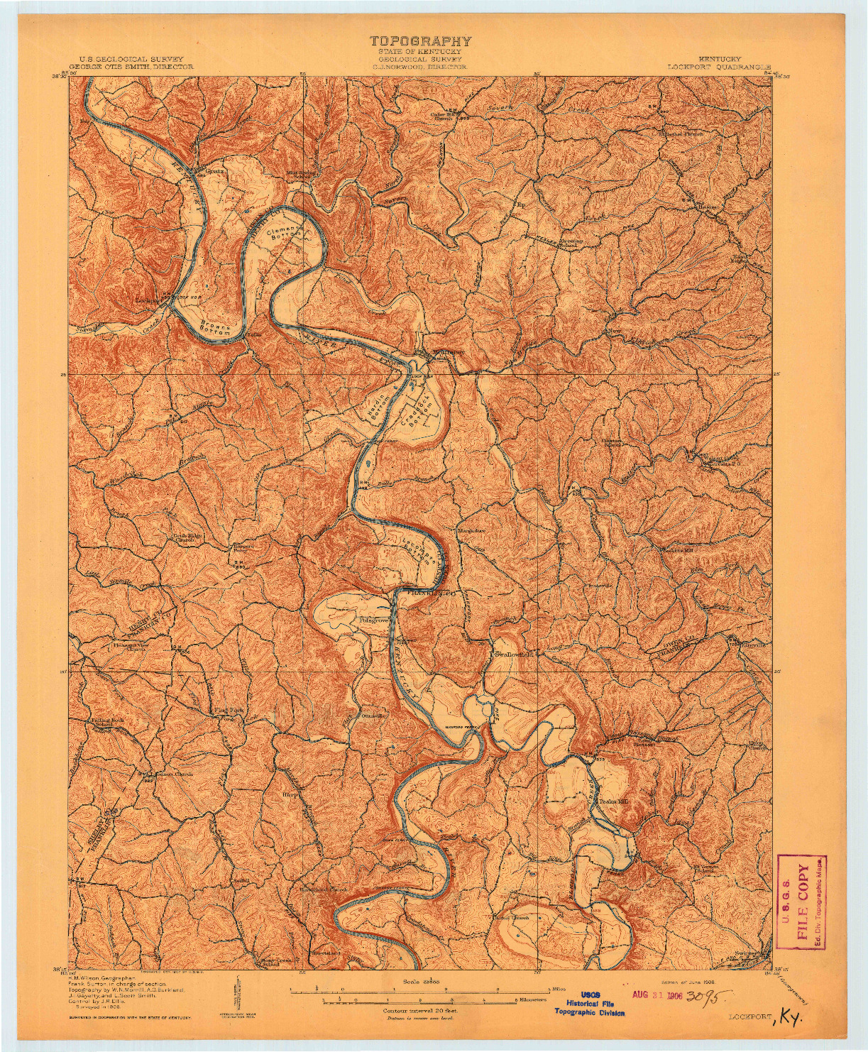USGS 1:62500-SCALE QUADRANGLE FOR LOCKPORT, KY 1908