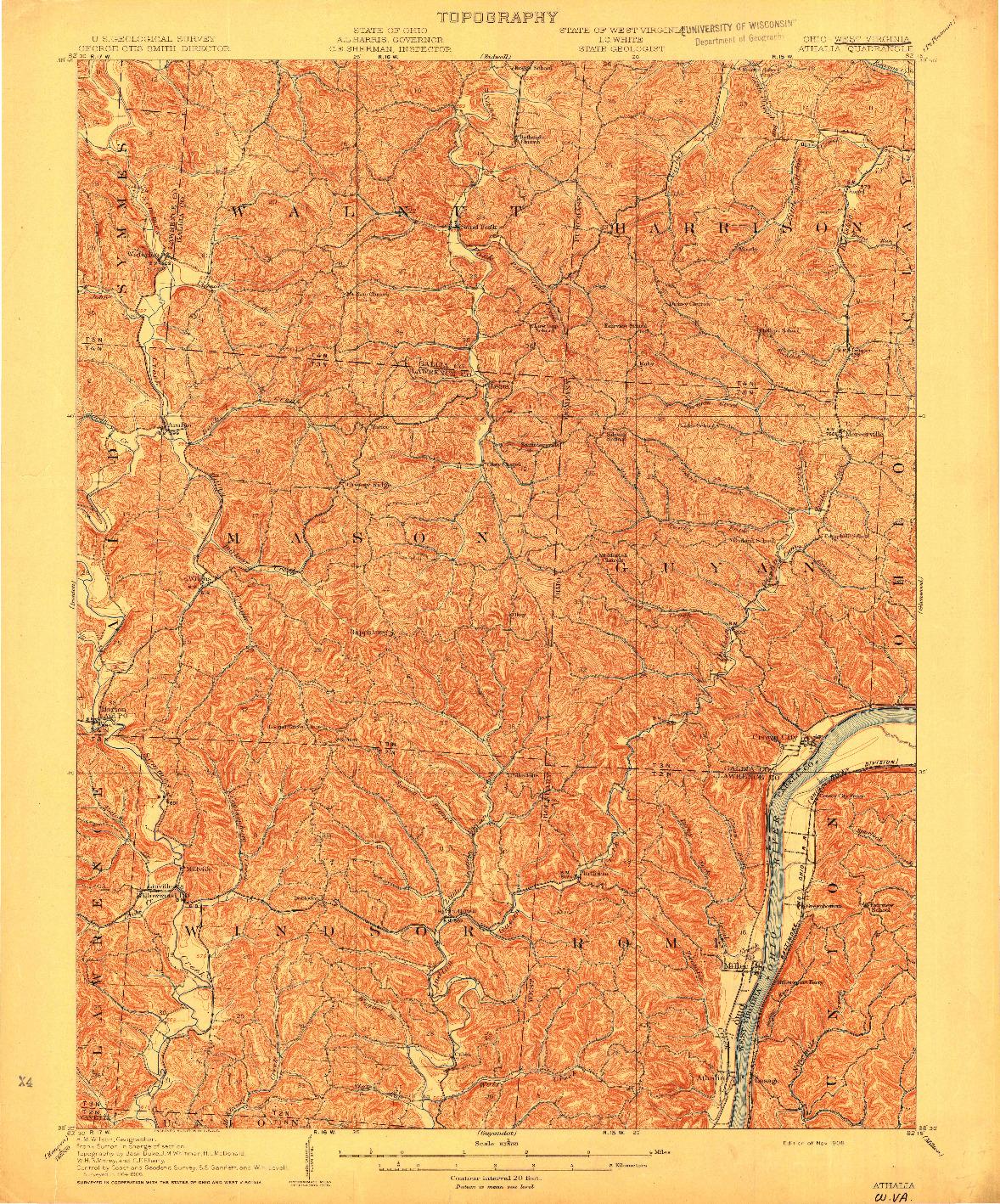 USGS 1:62500-SCALE QUADRANGLE FOR ATHALIA, OH 1908