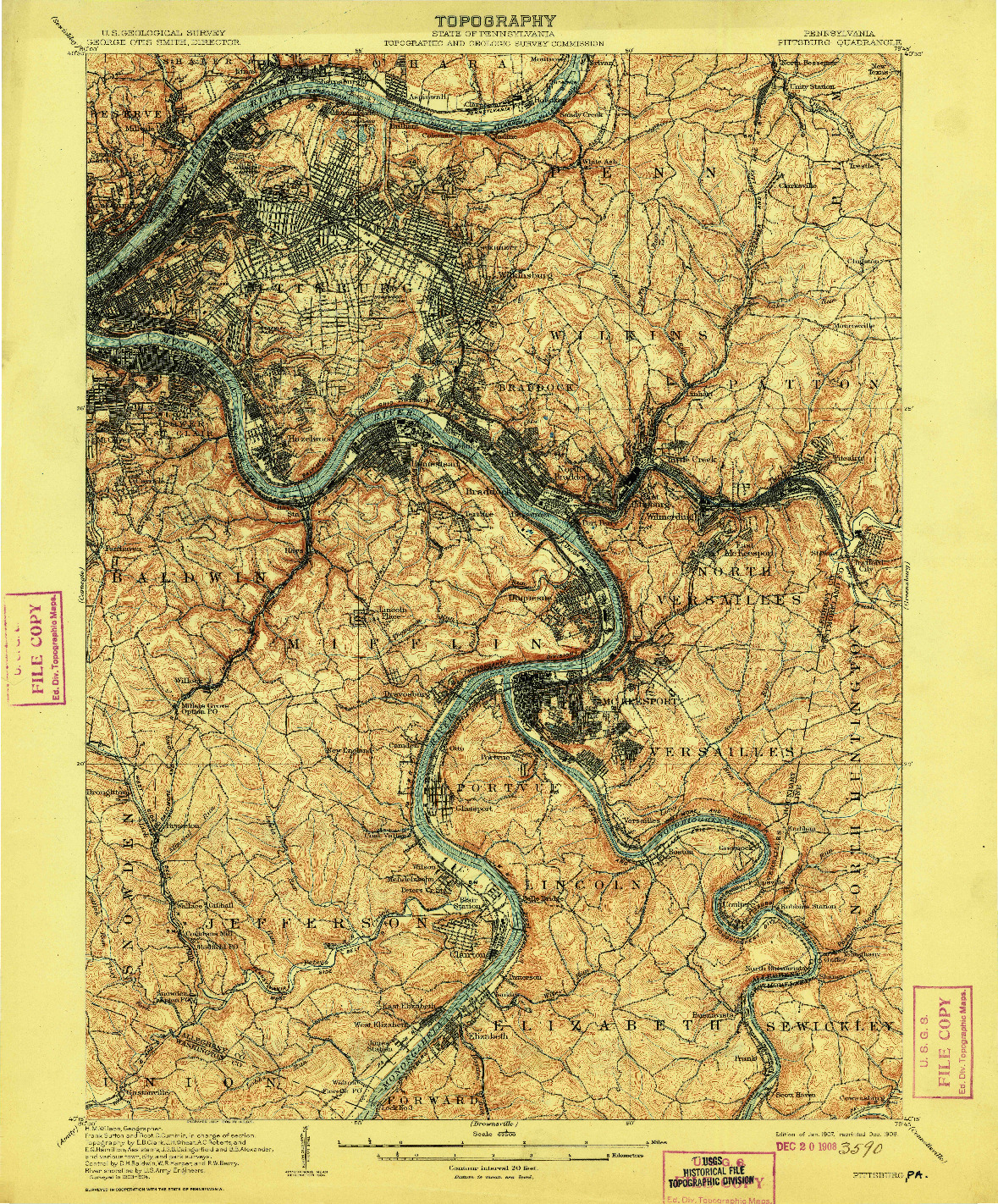 USGS 1:62500-SCALE QUADRANGLE FOR PITTSBURG, PA 1907