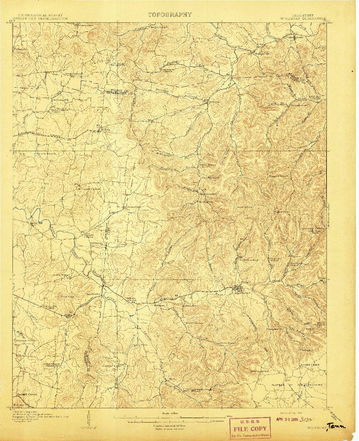 USGS 1:62500-SCALE QUADRANGLE FOR WOODBURY, TN 1908
