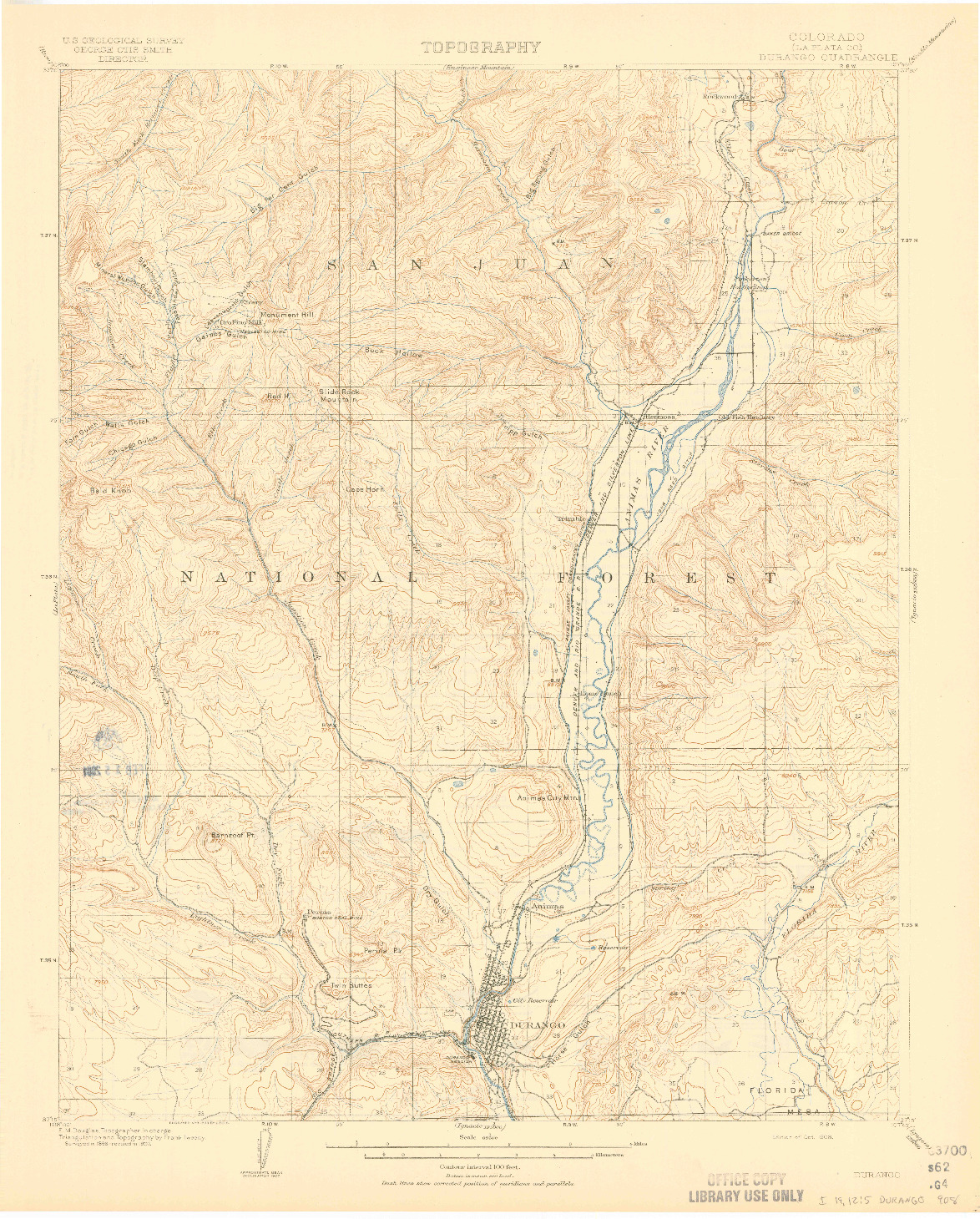 USGS 1:62500-SCALE QUADRANGLE FOR DURANGO, CO 1908