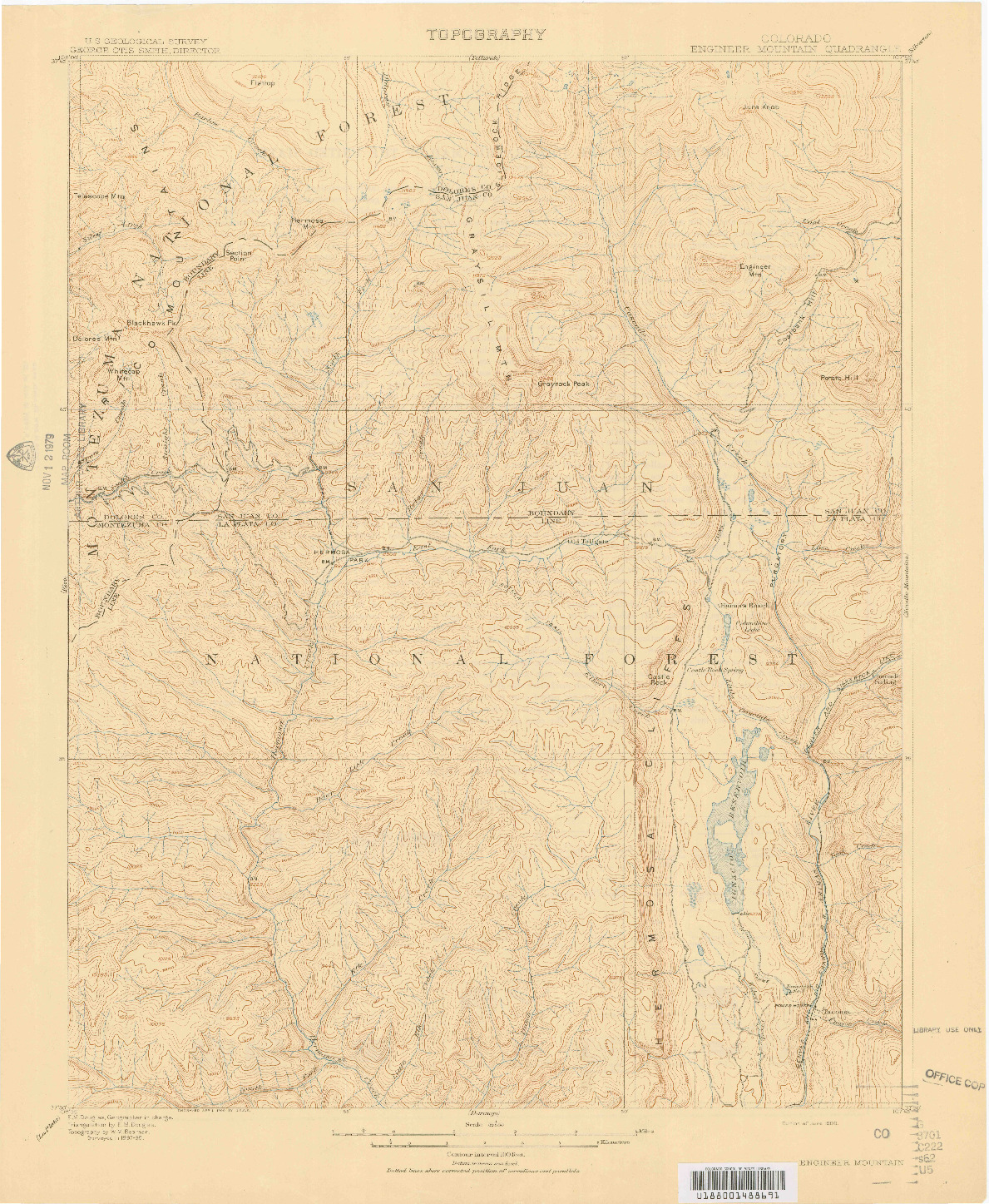 USGS 1:62500-SCALE QUADRANGLE FOR ENGINEER MOUNTAIN, CO 1908