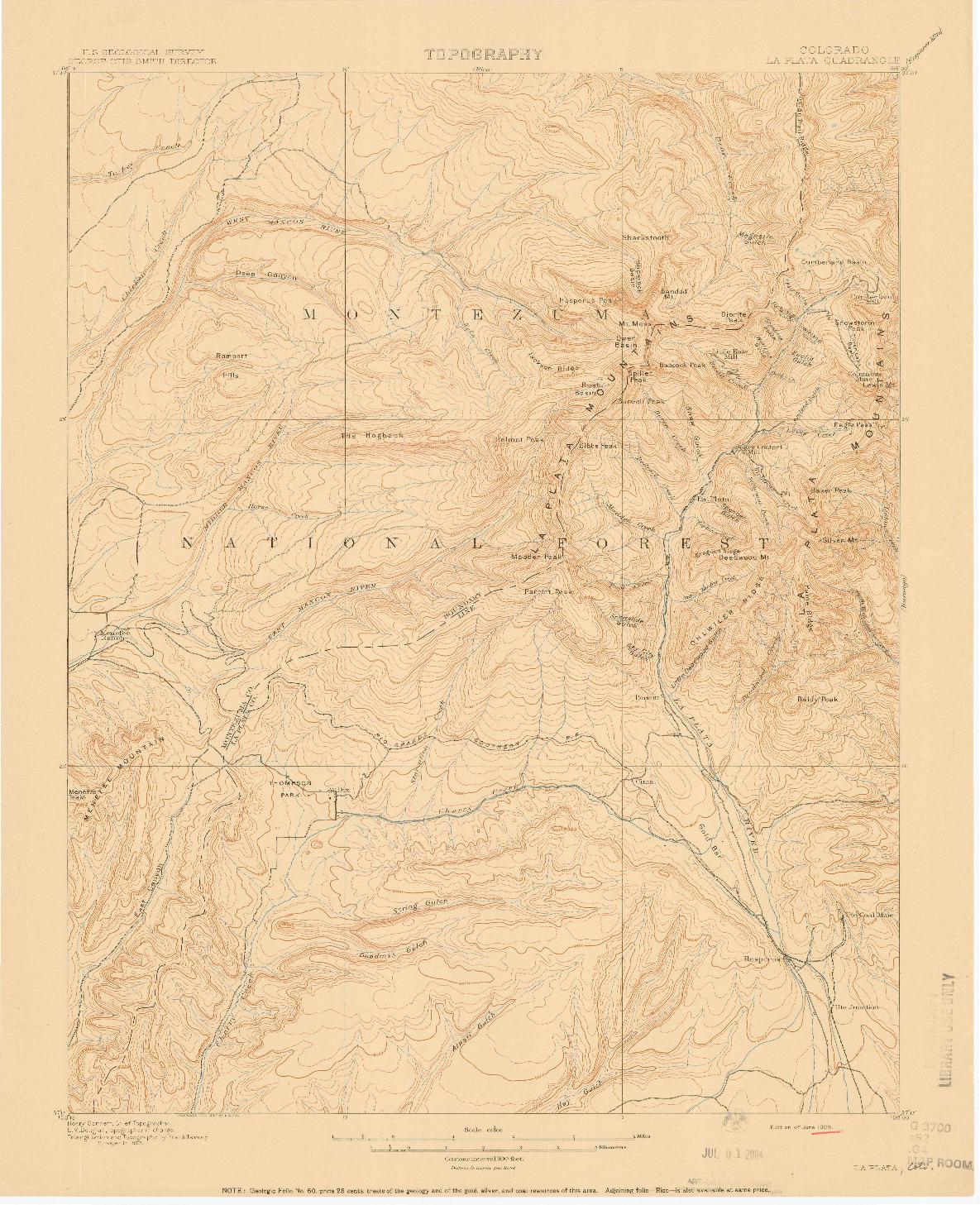 USGS 1:62500-SCALE QUADRANGLE FOR LA PLATA, CO 1908