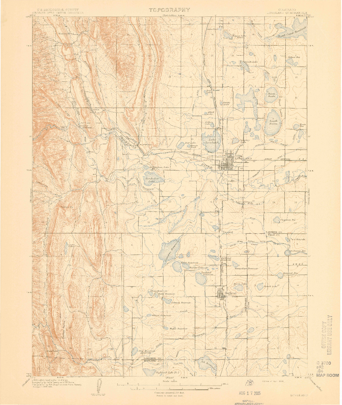 USGS 1:62500-SCALE QUADRANGLE FOR LOVELAND, CO 1908