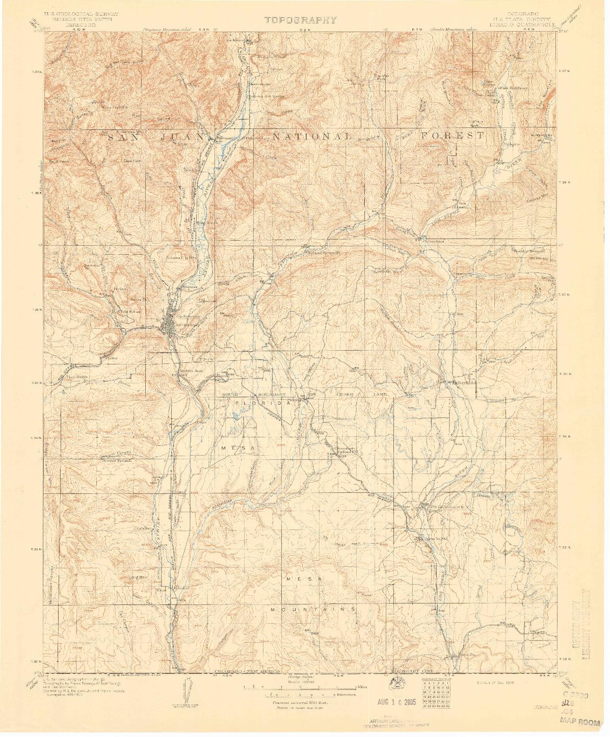 USGS 1:125000-SCALE QUADRANGLE FOR IGNACIO, CO 1908