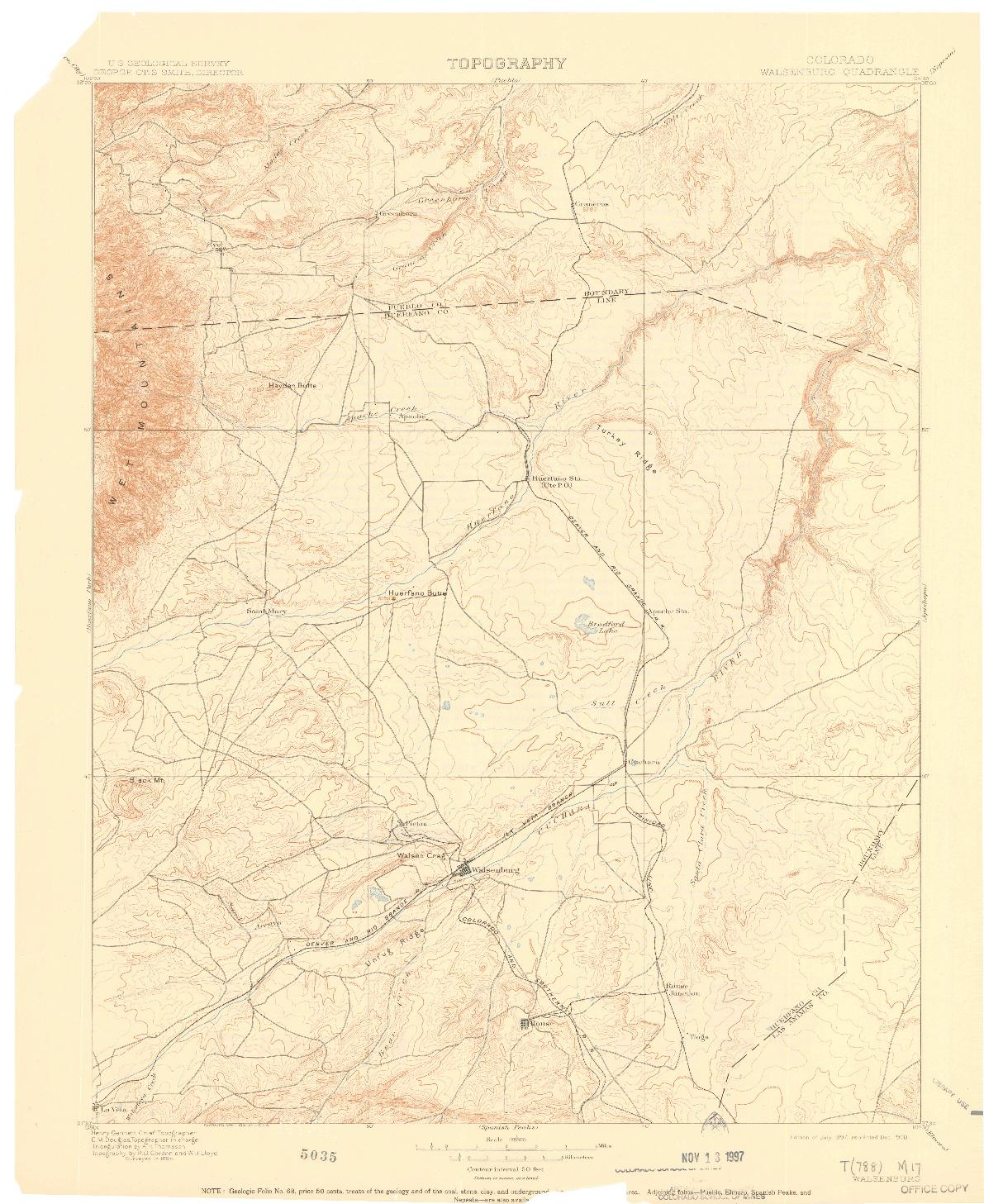 USGS 1:125000-SCALE QUADRANGLE FOR WALSENBURG, CO 1897